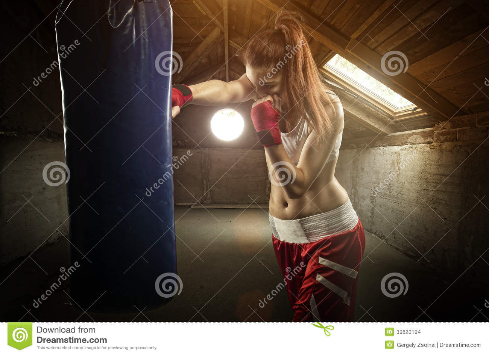 Het jonge vrouwen in dozen doen, die de in dozen doende zak - op de zolder raken