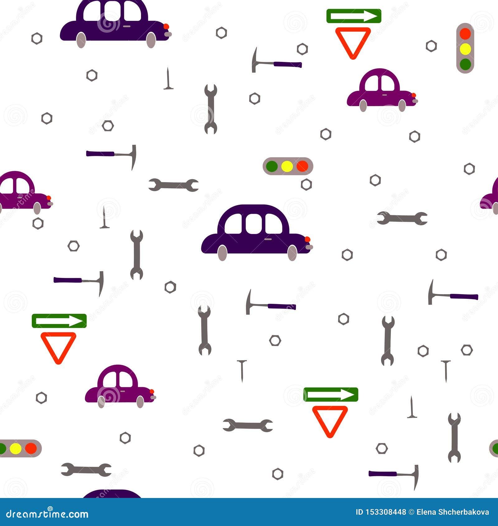 Het jongensachtige patroon van naadloze kinderen Vervoer, verkeersteken, hulpmiddelen op een witte achtergrond