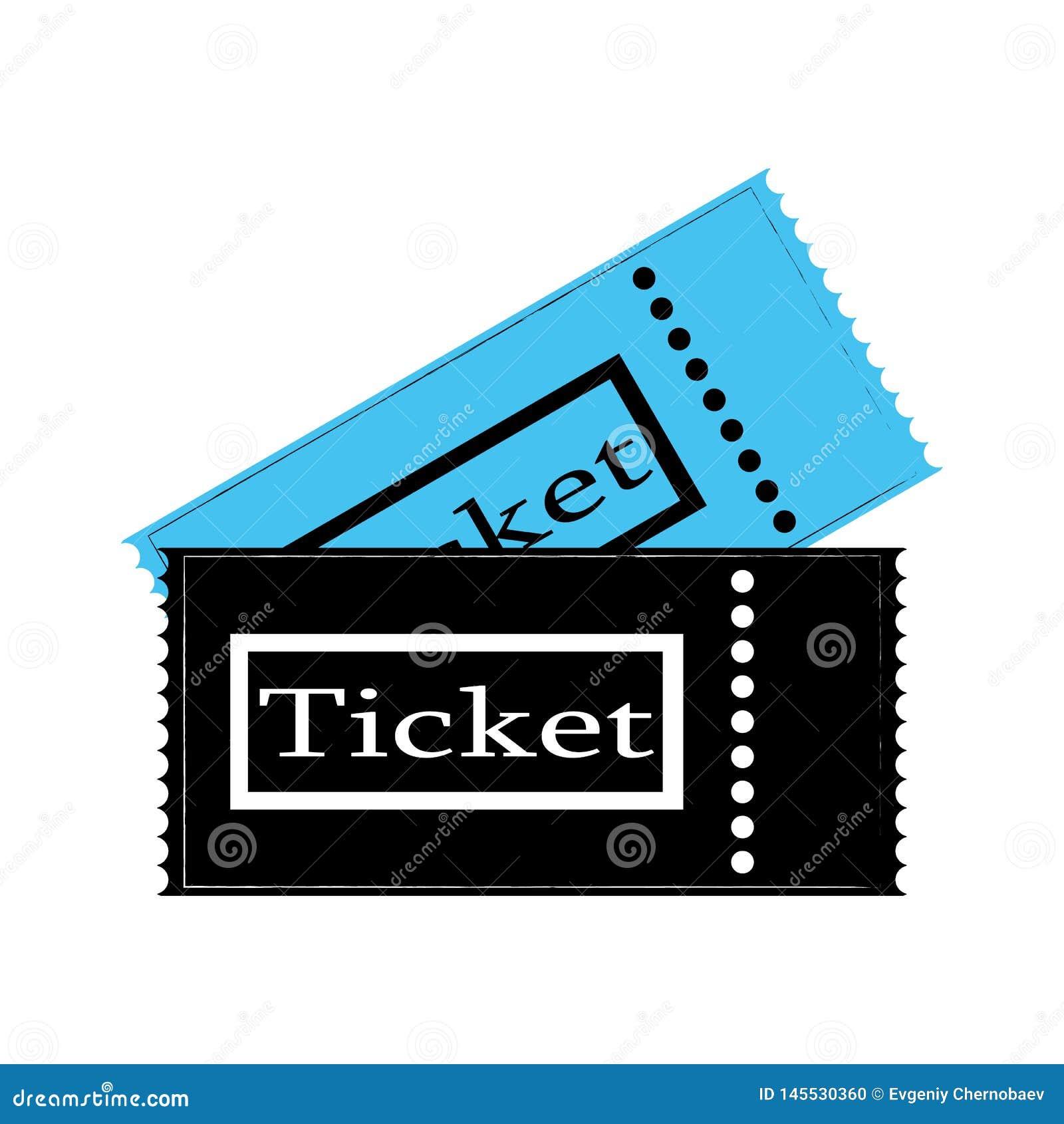 Het kaartje van de twee bioskoopfilm op witte achtergrond De film blauwe en zwarte kleur vectoreps10 van het bioskoopkaartje