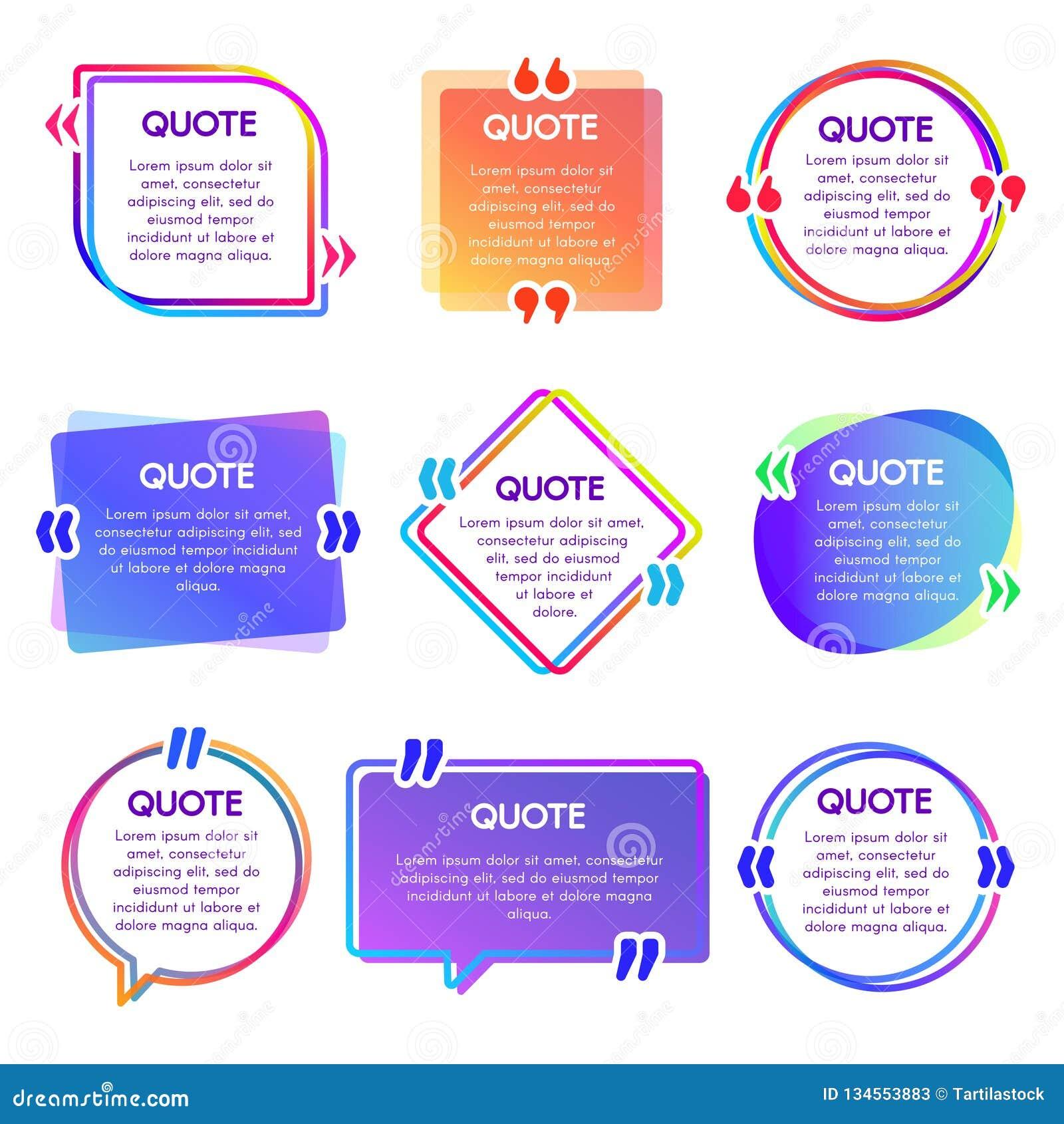 Het kader van de citaatdoos De vermeldingstekstframes, de bel van de opmerkingstoespraak en de zinnen citeren woordenvakjes vecto