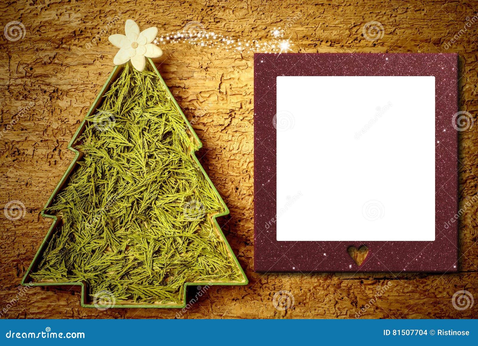 Het kaderkaart van de kerstboomfoto