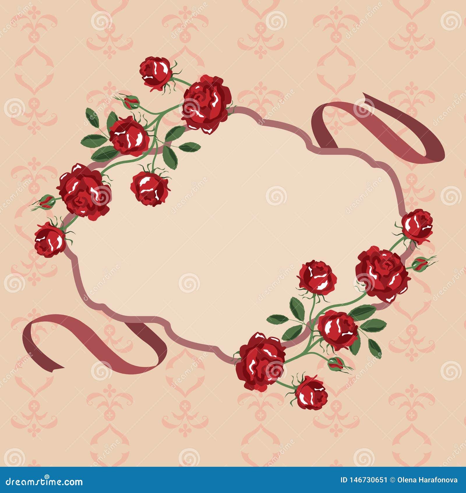 Het kadervector van de rozenbloem