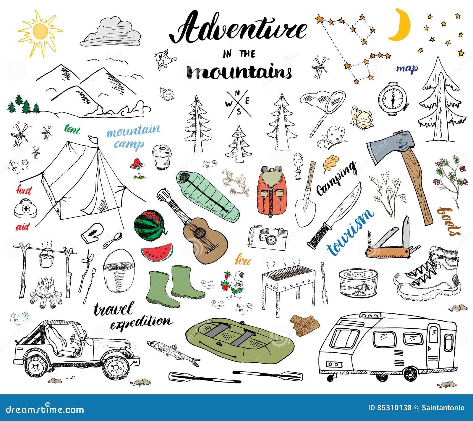 Het kamperen, de krabbel vastgestelde vectorillustratie van de Wandelingshand Getrokken schets met bergen, tent, vlot, grill en k