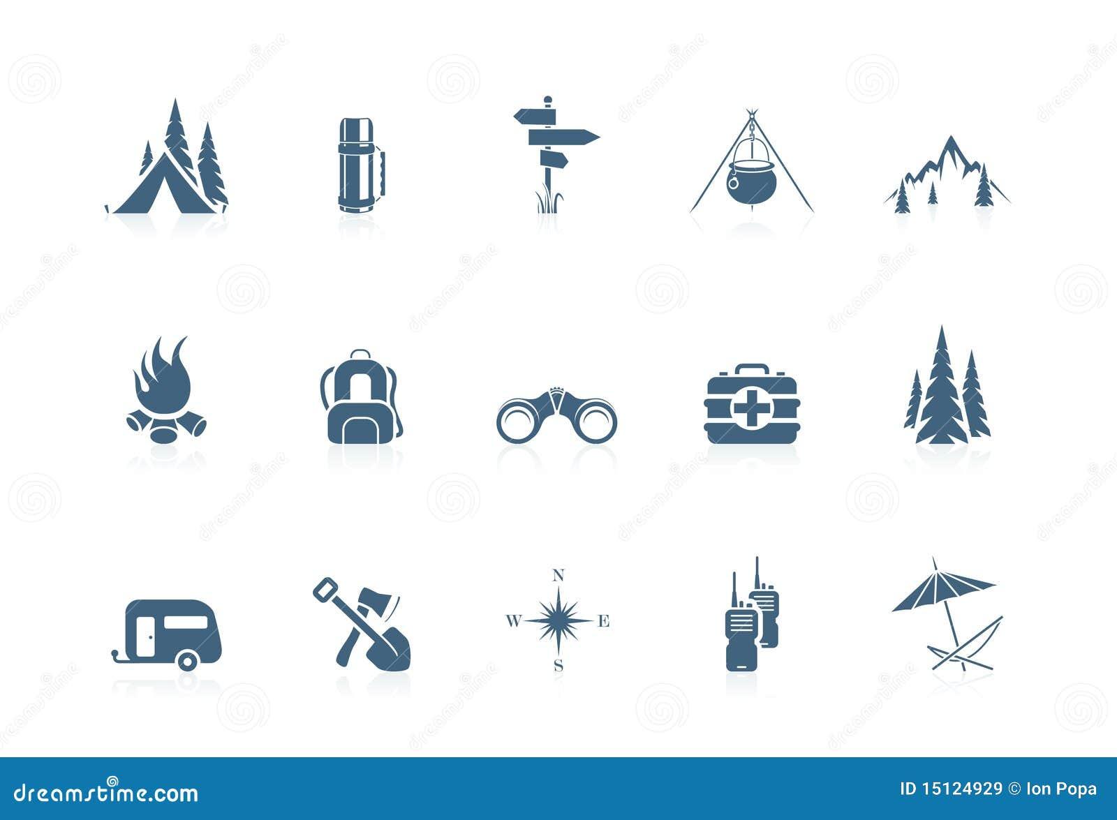 Het kamperen pictogrammen | piccolofluit reeks