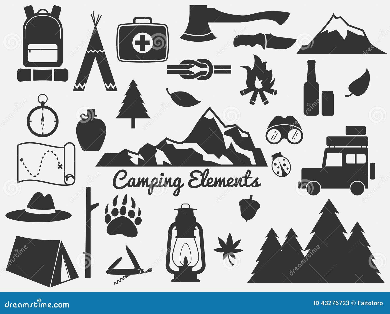 Het kamperen pictogramreeks