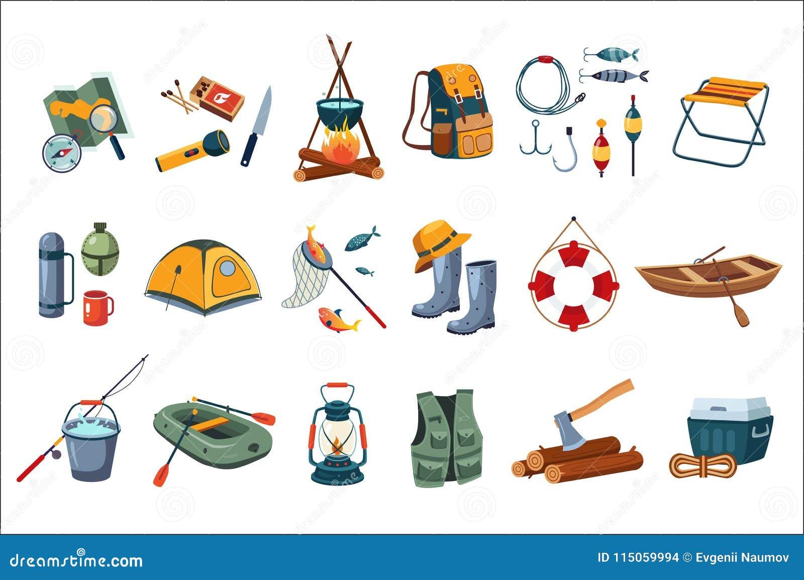 Het kamperen pictogramreeks Toeristenmateriaal, punten voor visserij Openlucht activiteit De zomerrecreatie Vlak vectorontwerp