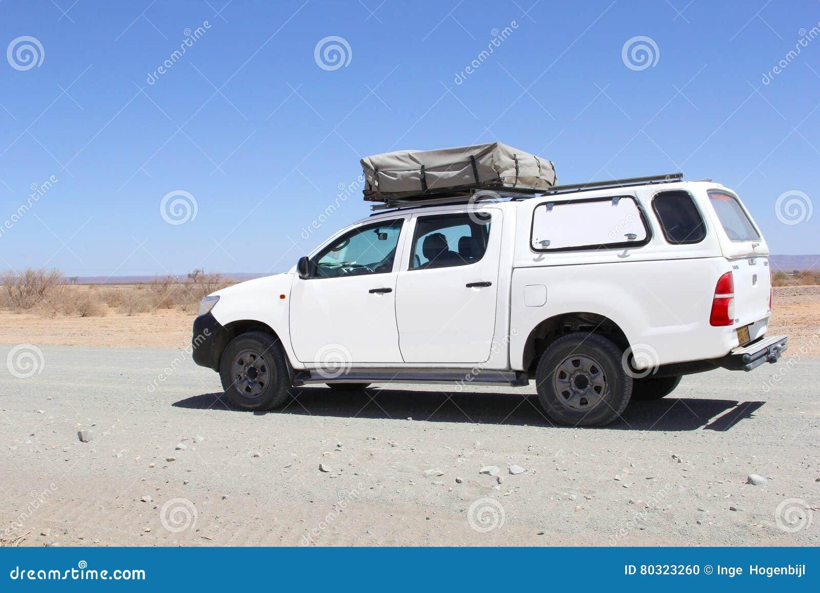 Het kamperen voertuig rooftent woestijn, Namibië