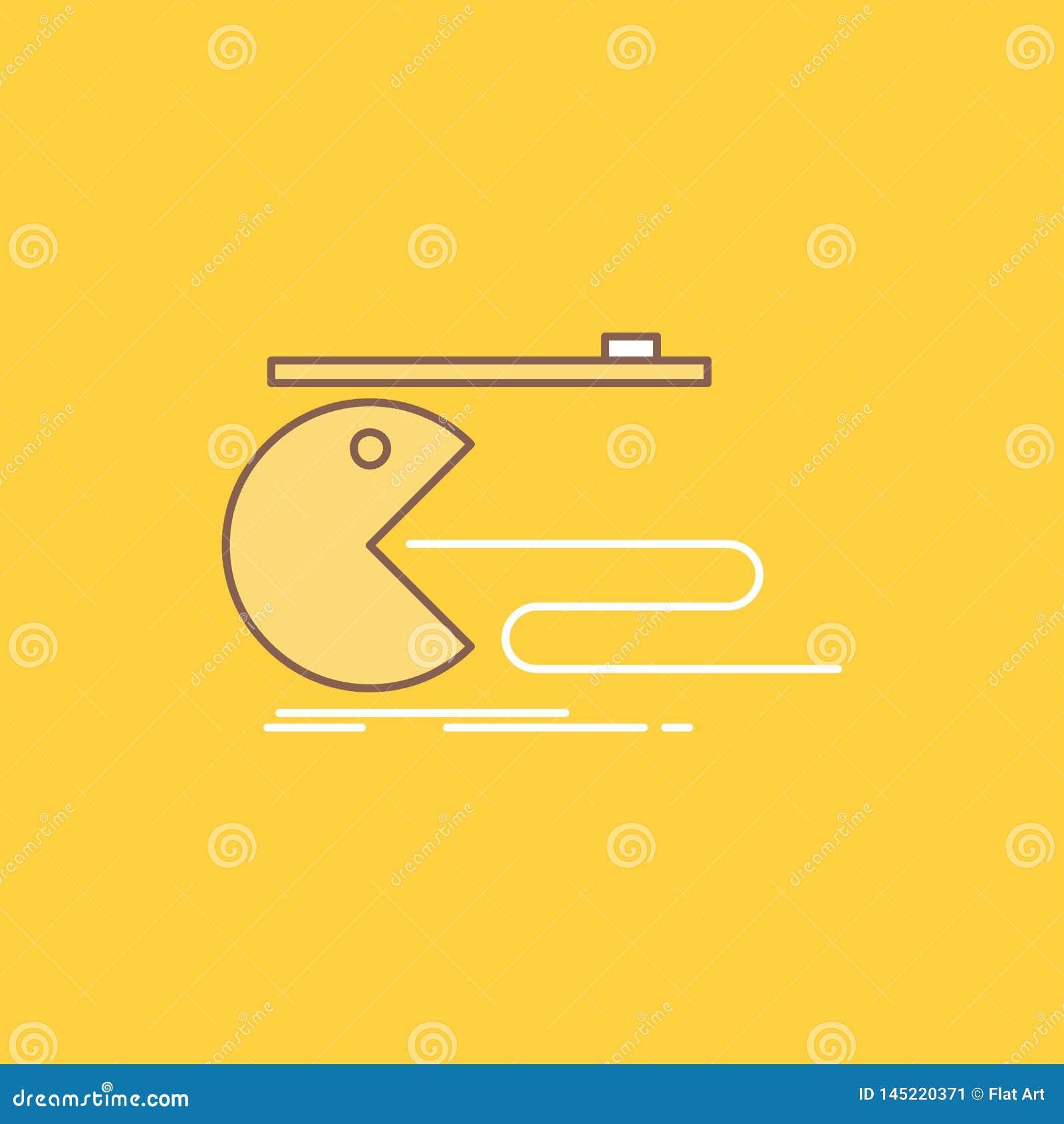 Het karakter, computer, spel, gokken, pacman Vlakke Lijn vulde Pictogram Mooie Embleemknoop over gele achtergrond voor UI en UX,