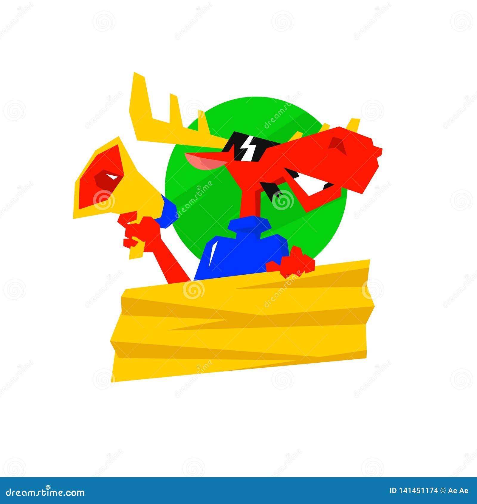 Het karakter is een rode Amerikaanse eland met een megafoon Vector illustratie Bedrijfembleem voor PR-agentschap Een vlakke illus