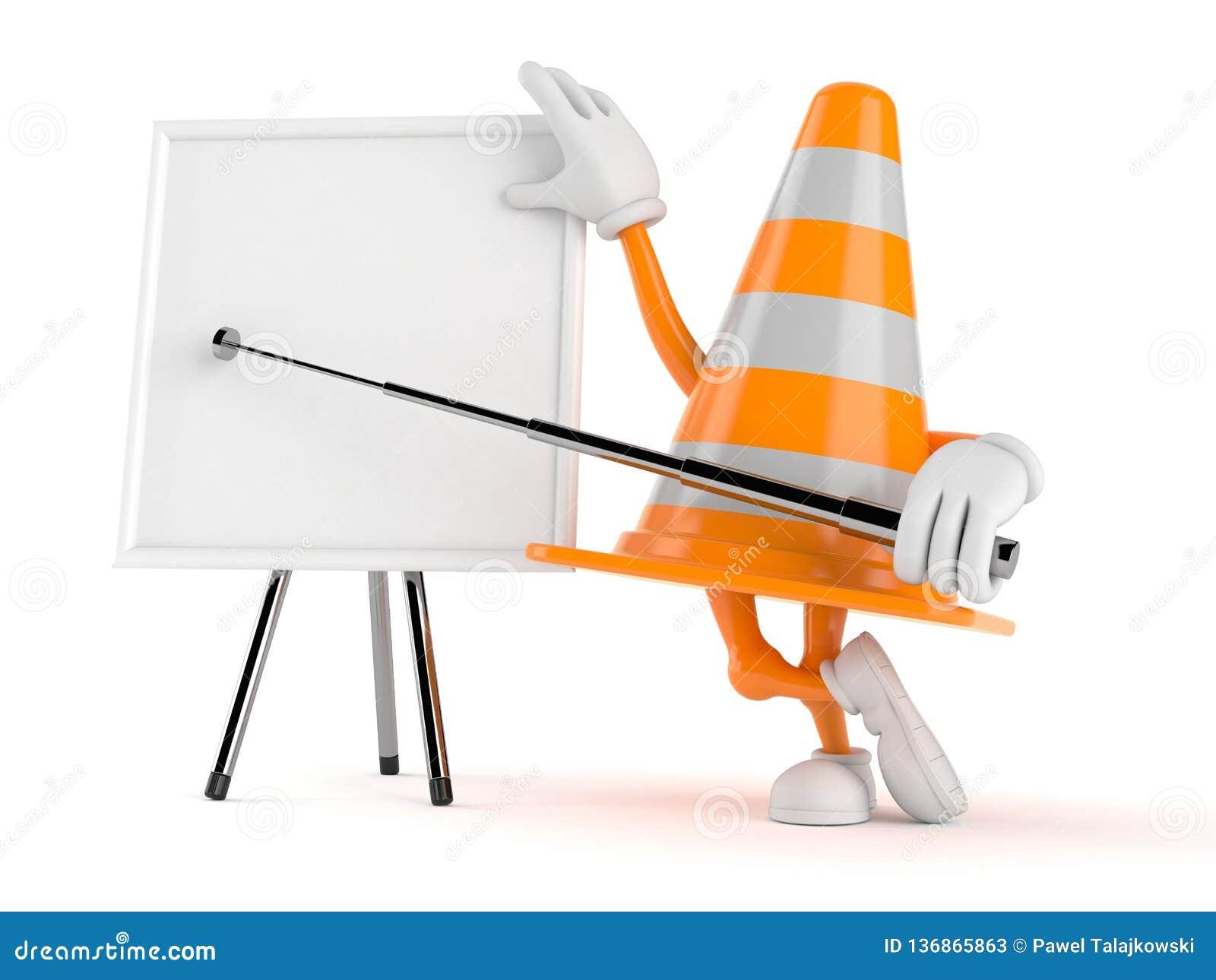 Het karakter van de verkeerskegel met spatie whiteboard
