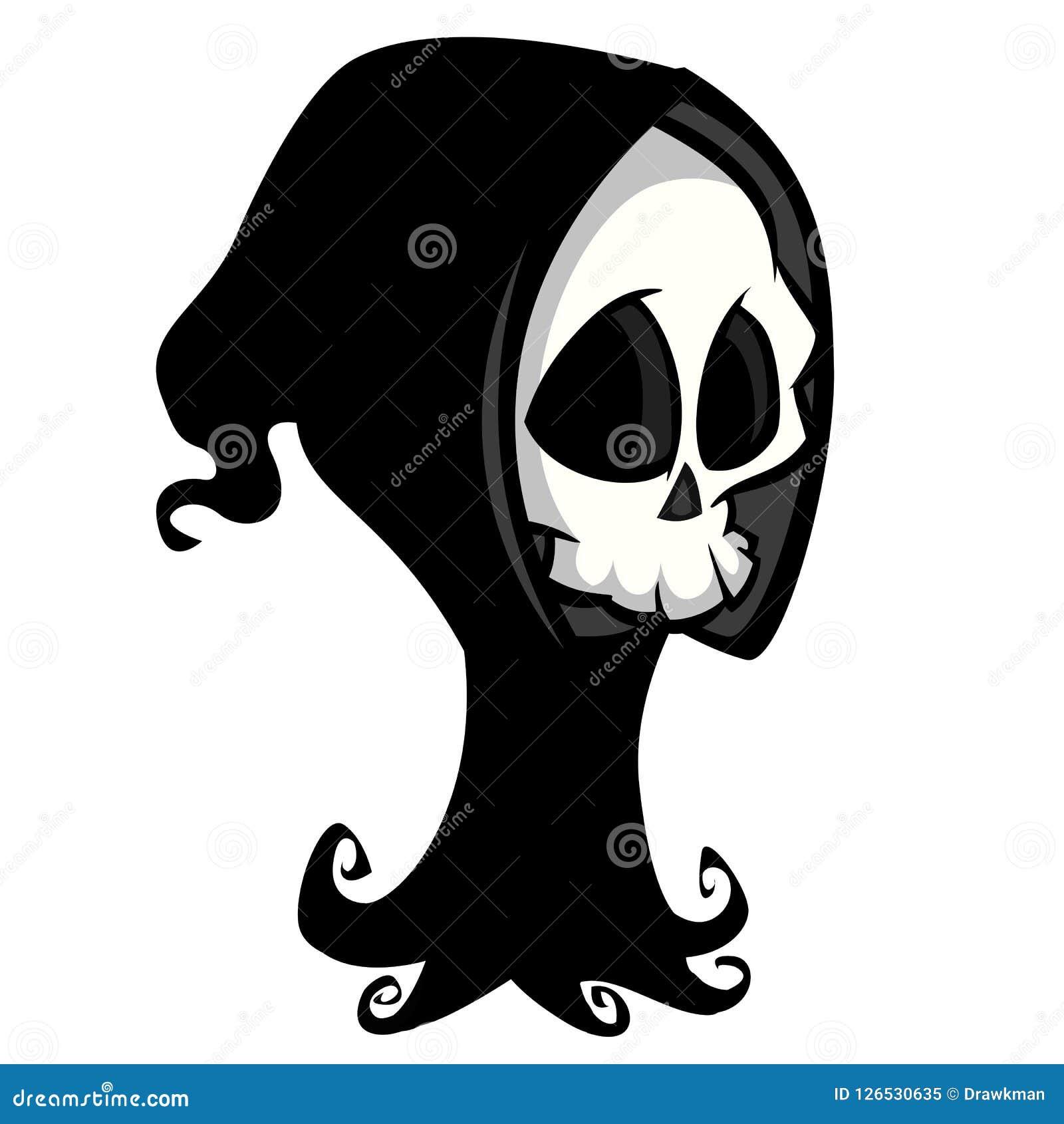 Het karakter van het doodsskelet geschikt voor Halloween, embleem, godsdienst en tatoegeringsontwerp