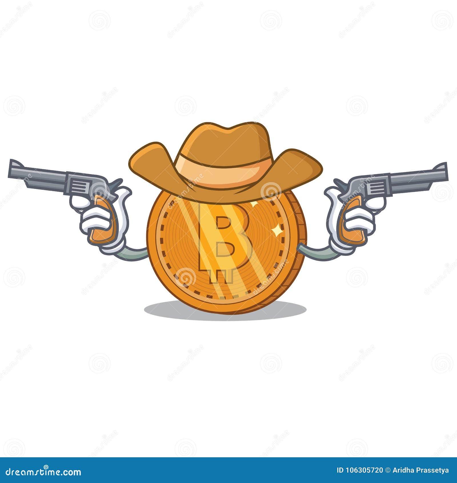 Het karakterbeeldverhaal van het cowboy bitcoin muntstuk
