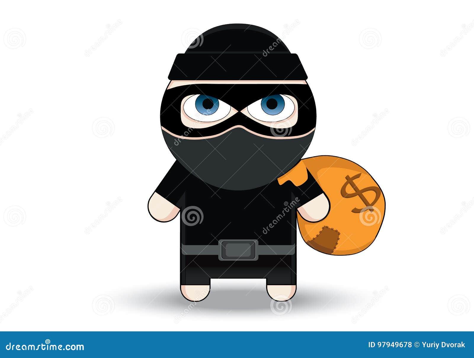 Het karakterontwerp van diefFlat Bandiet met grote zak Rover in masker De vectorillustratie van het beeldverhaal Dief in masker h