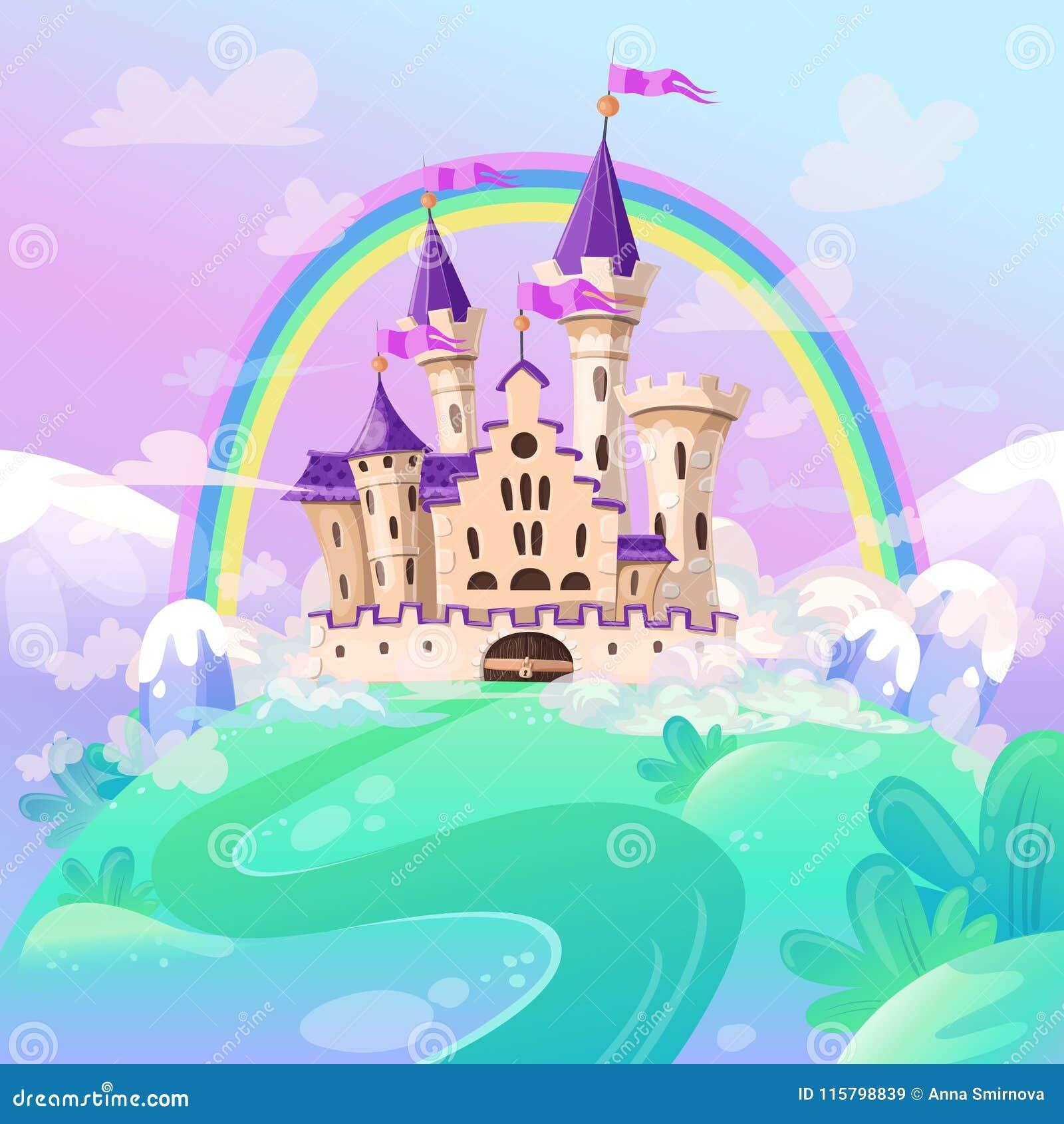 Het kasteel van het FairyTalebeeldverhaal Leuk beeldverhaalkasteel Het paleis van het fantasiesprookje met regenboog Vector illus