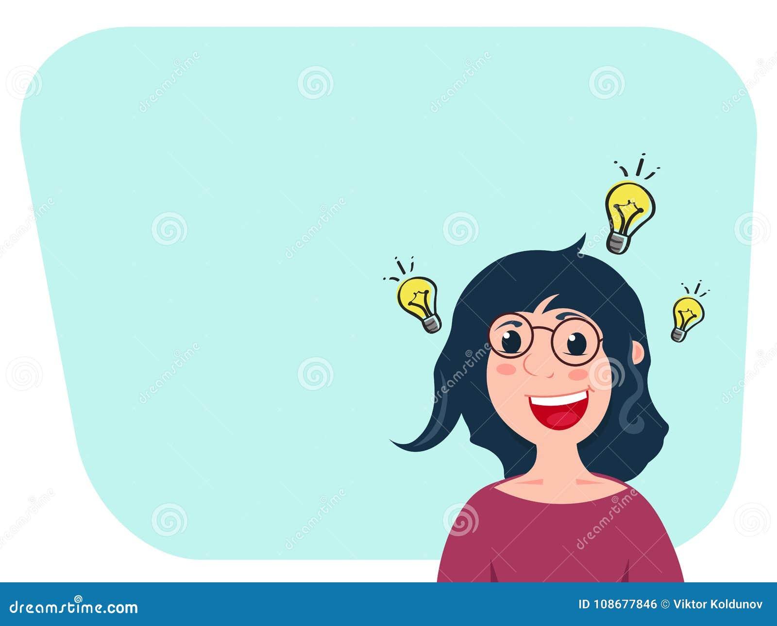 Het Kaukasische karakter van het vrouwenbeeldverhaal wordt geïnspireerd met idee voor opstarten of goed nieuws Lampteken dichtbij