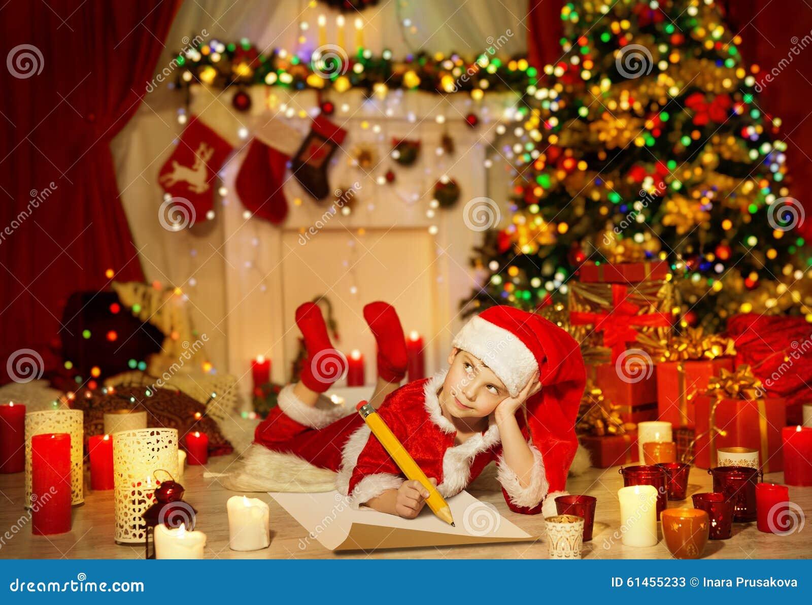Het Kerstmisjonge geitje schrijft Wenslijst, Kind Santa Hat Writing Letter