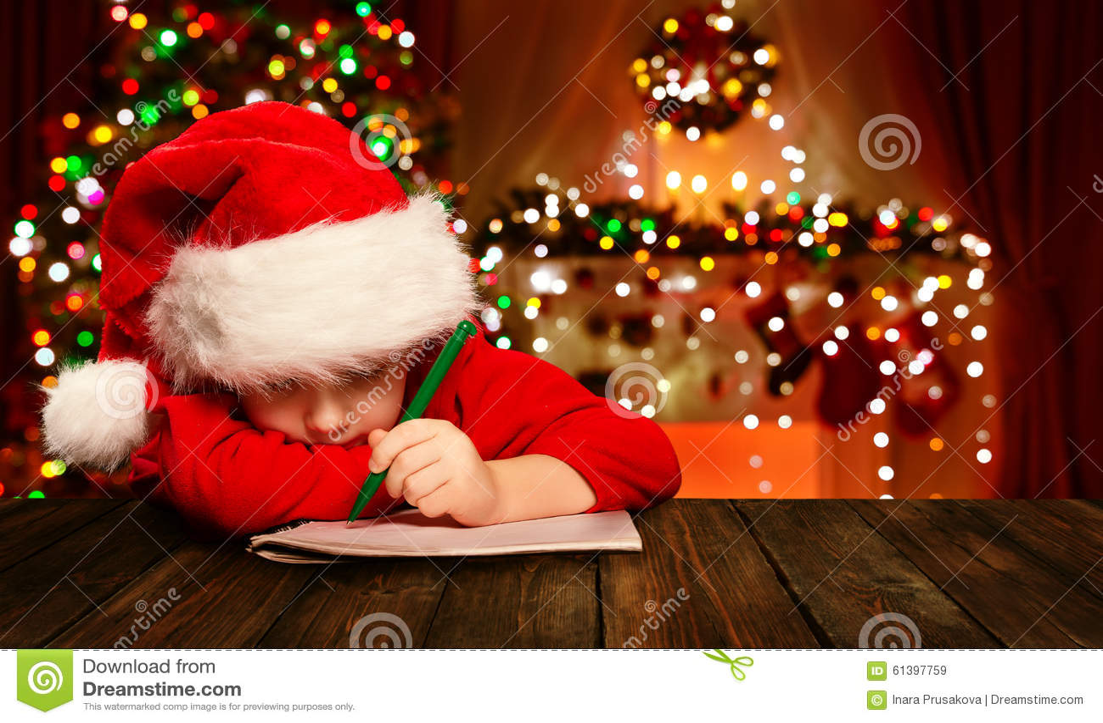 Het Kerstmiskind schrijft Brief Santa Claus, Jong geitje in Hoed het Schrijven