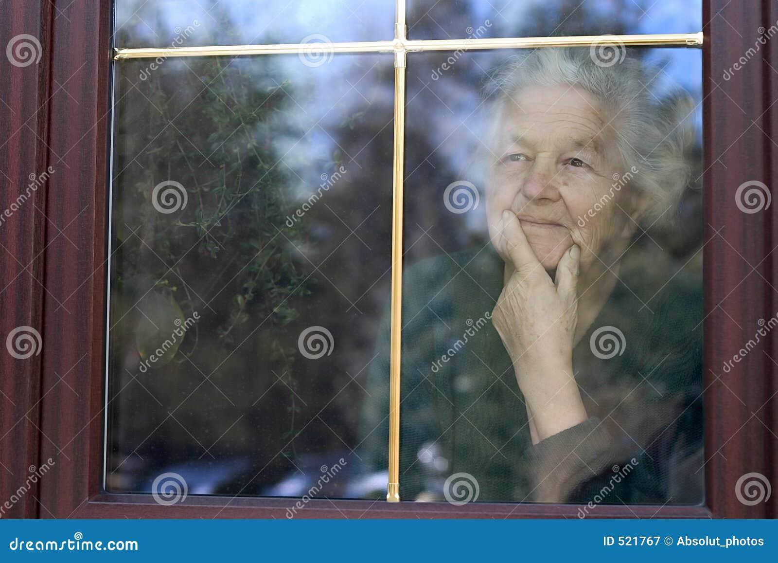 Het kijken door het venster