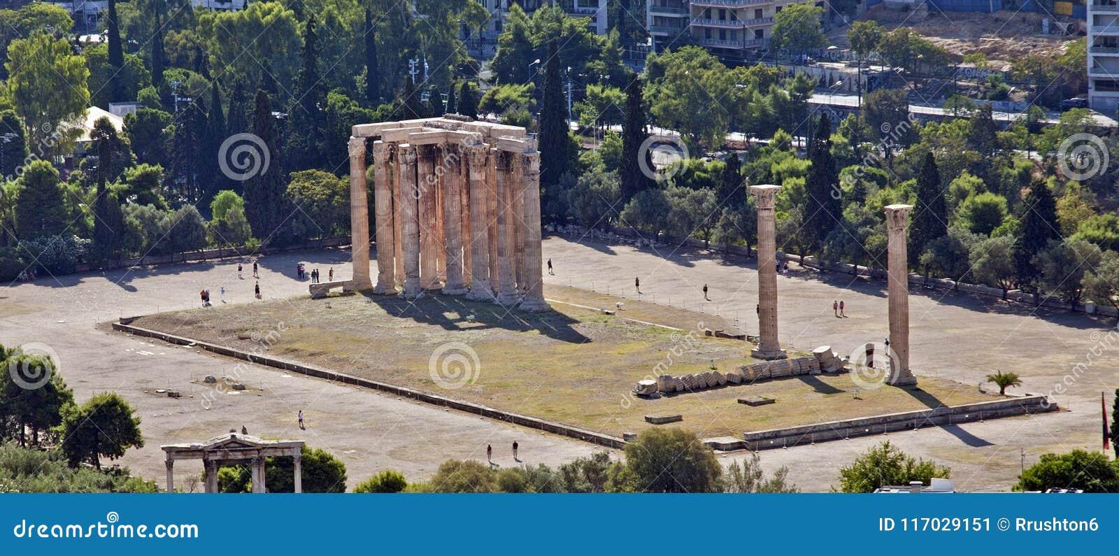 Het kijken neer op de Tempel van Zeus `