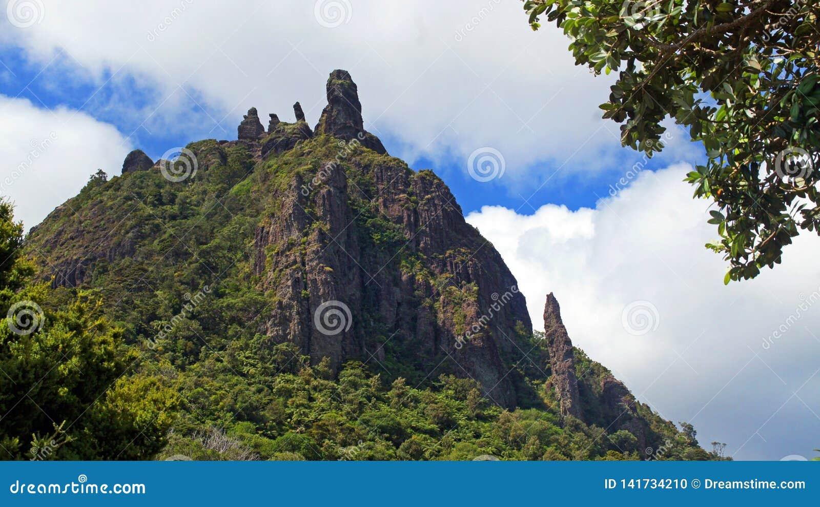 Het kijken omhoog tot de bovenkant van MT Manaia