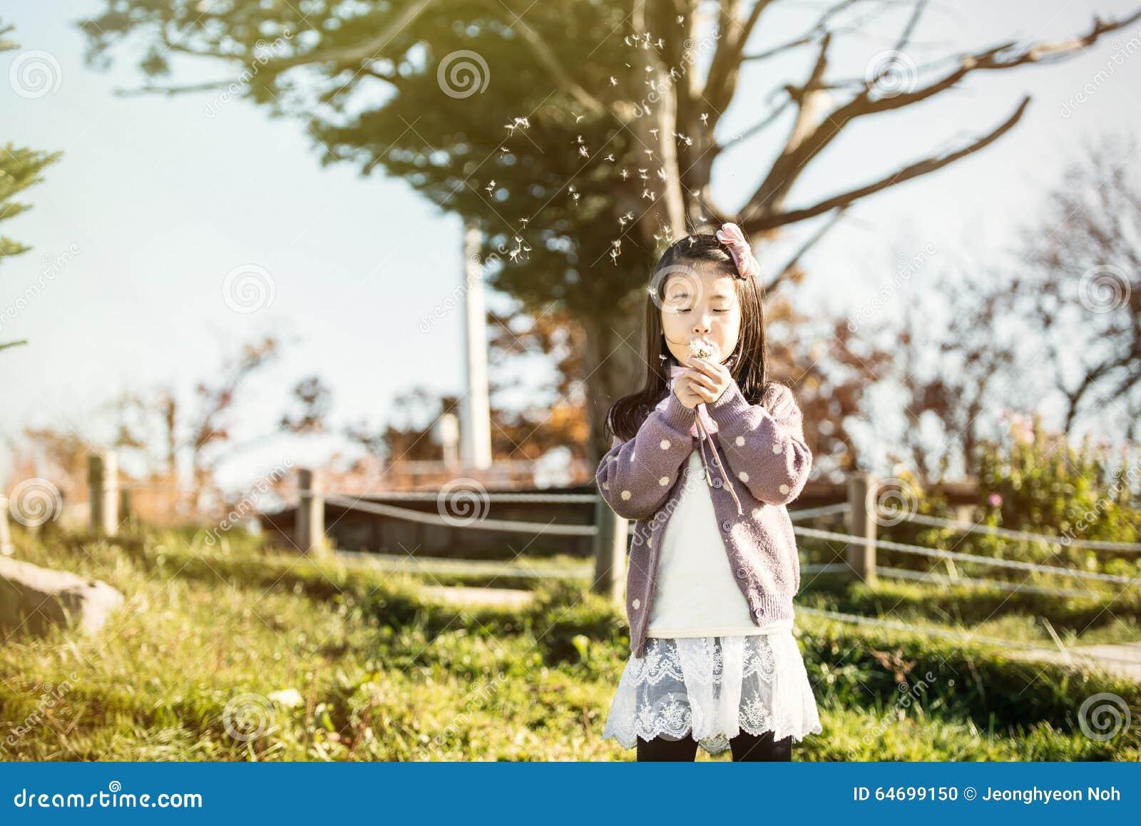 Het kind die een paardebloem in een park blazen