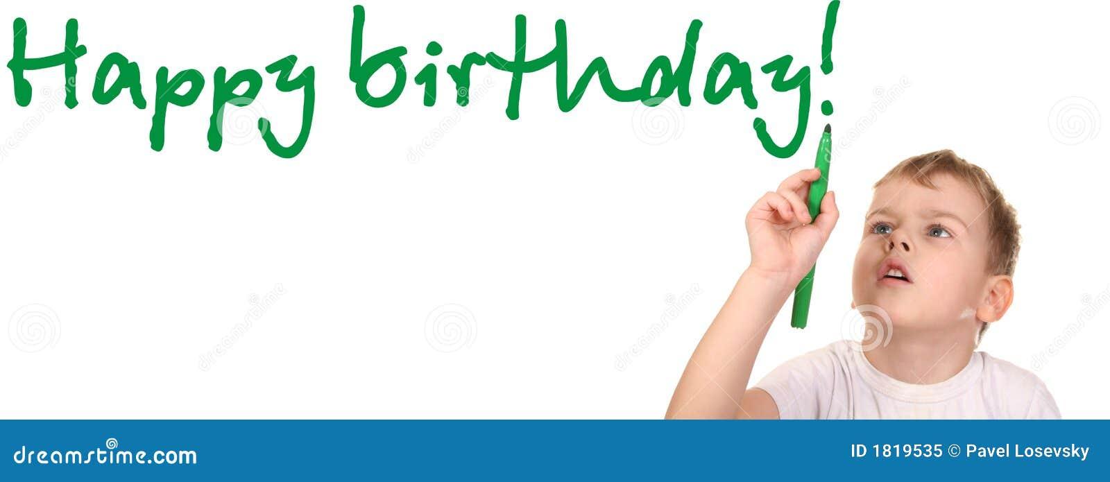 Het kind schrijft gelukkige verjaardag