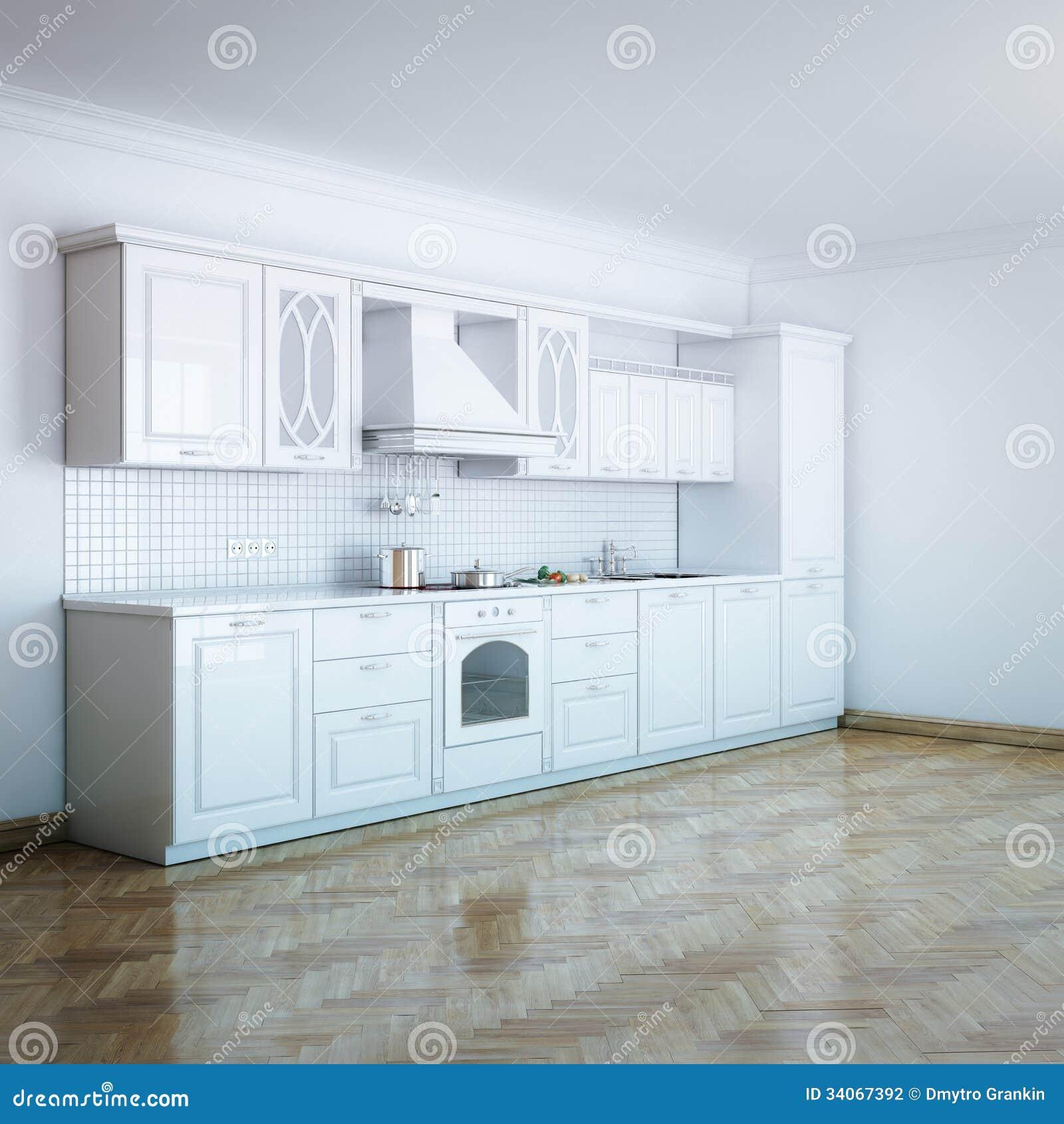Het klassieke ontwerp van de luxe witte keuken met hard hout stock fotografie afbeelding 34067392 - Witte keuken en hout ...