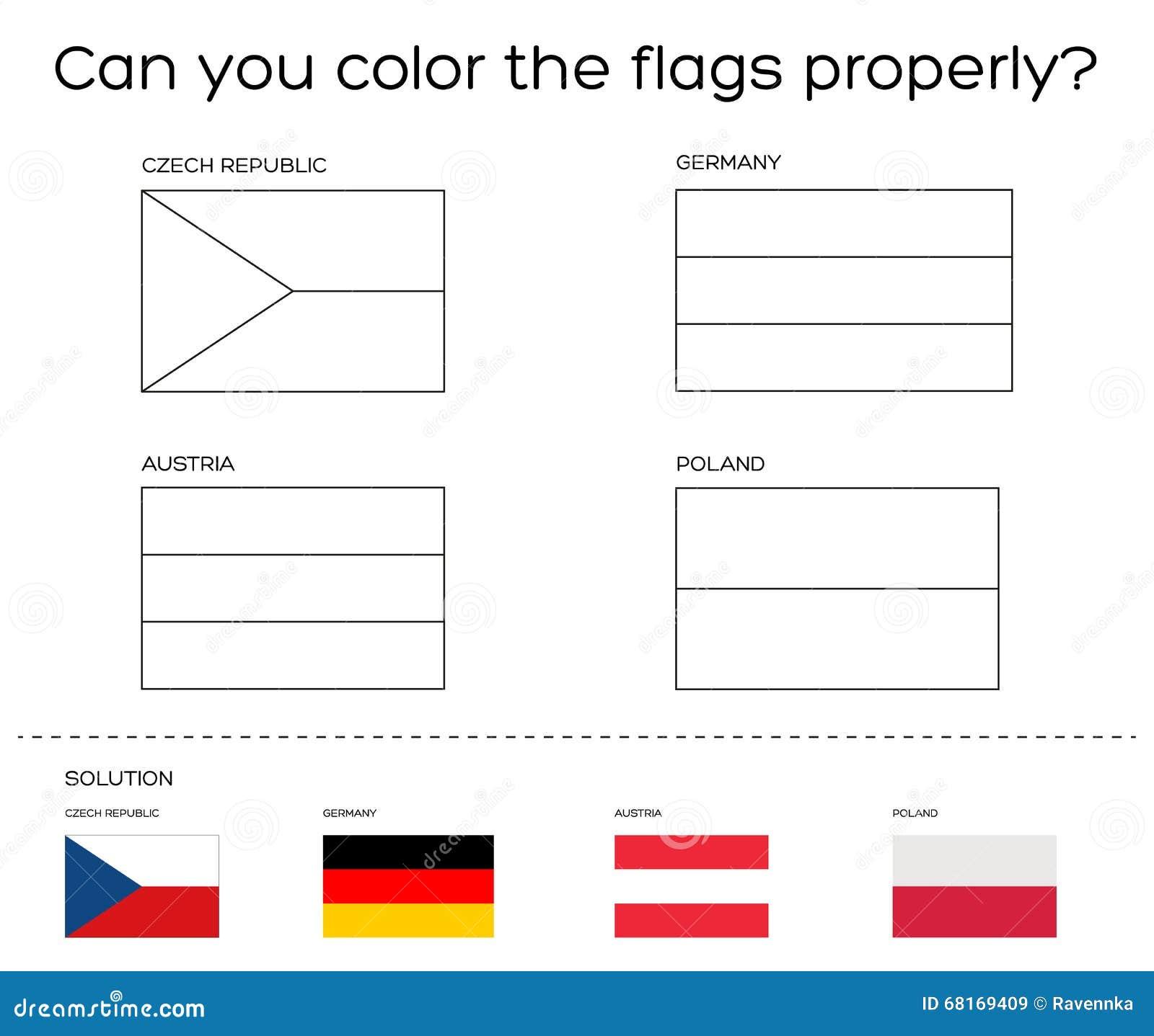 het kleuren boektaak europese vlaggen met oplossing