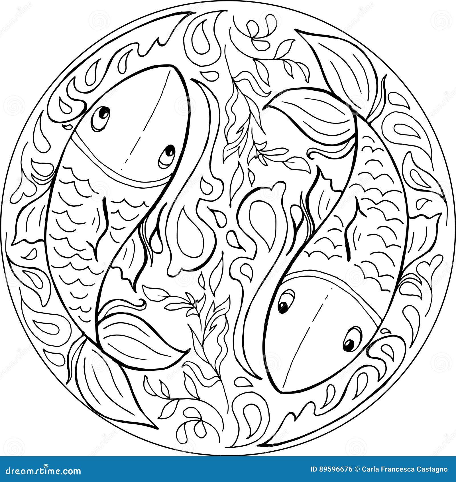 het kleuren de vector vissenmandala vector illustratie