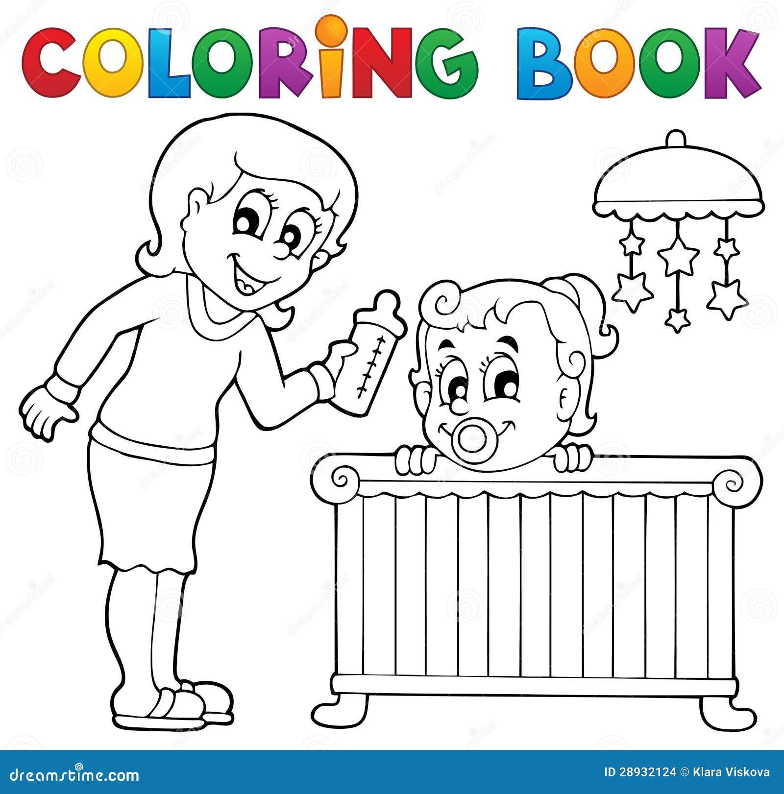 Het kleuren het themabeeld 1 van de boekbaby