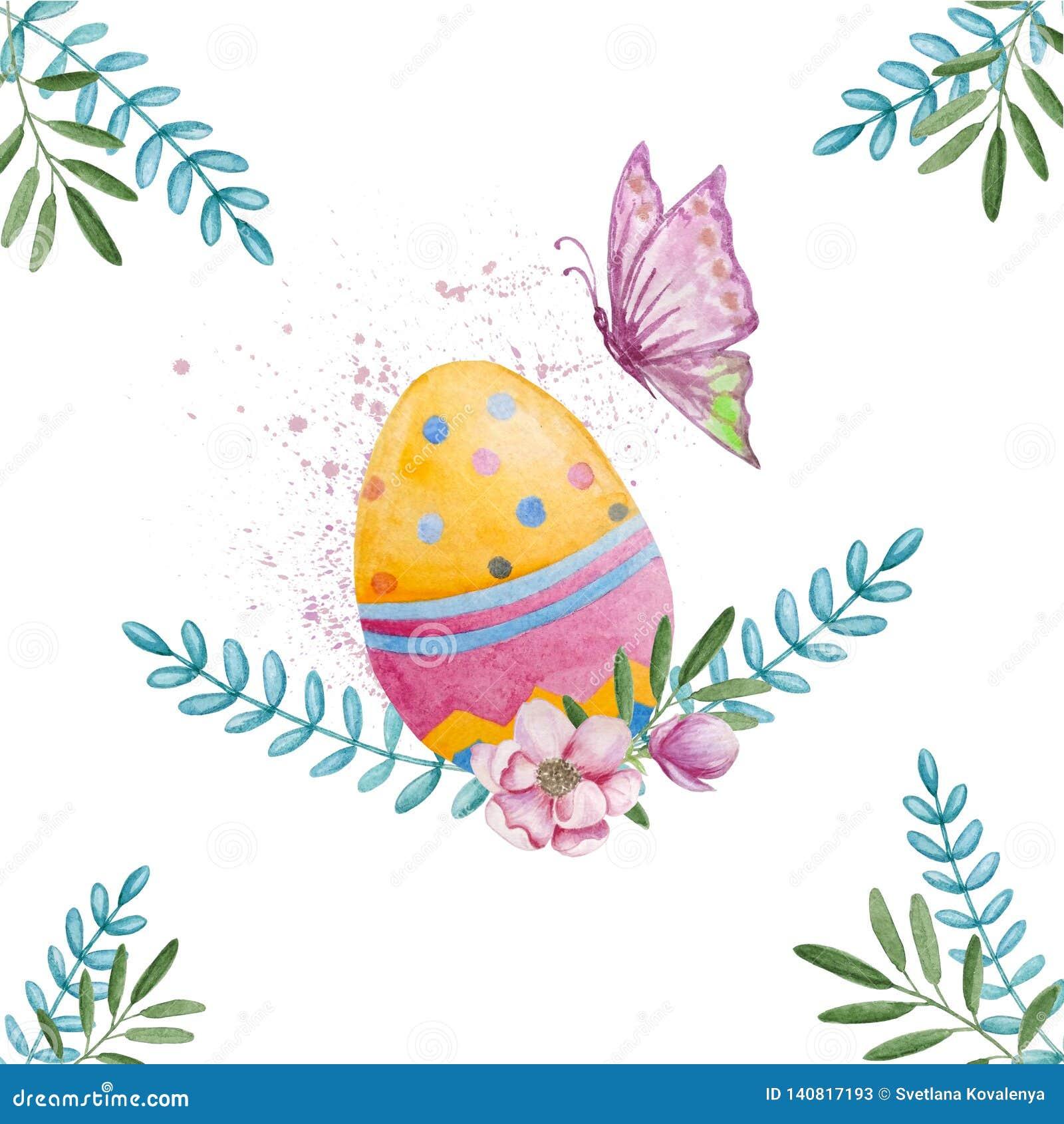 Het kleurrijke ei van waterverfpasen met vlinder