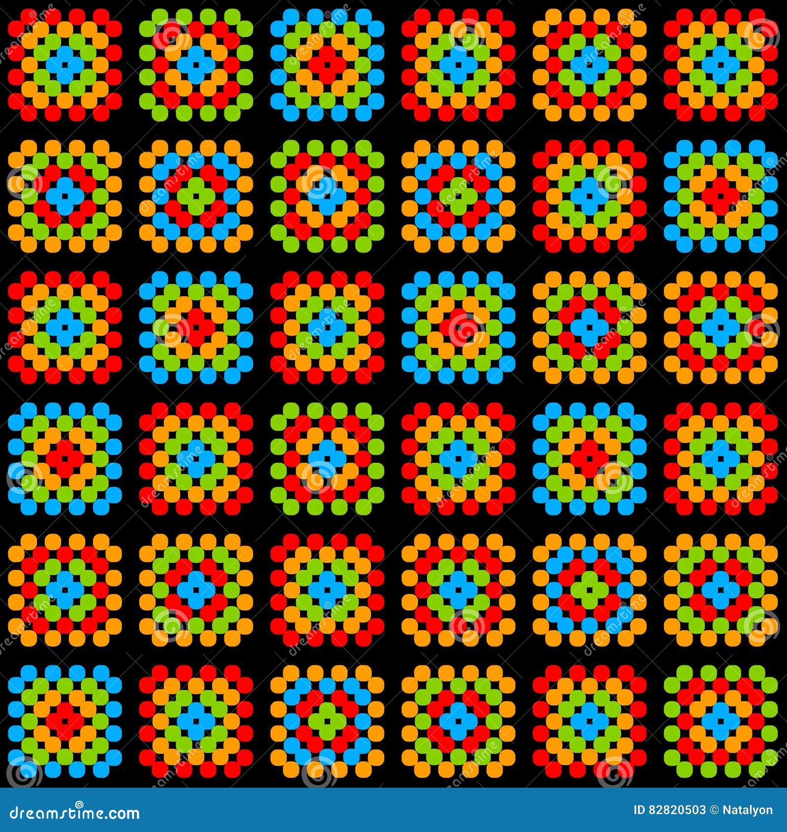 Het kleurrijke omavierkant haakt algemeen ornament op zwart, vector
