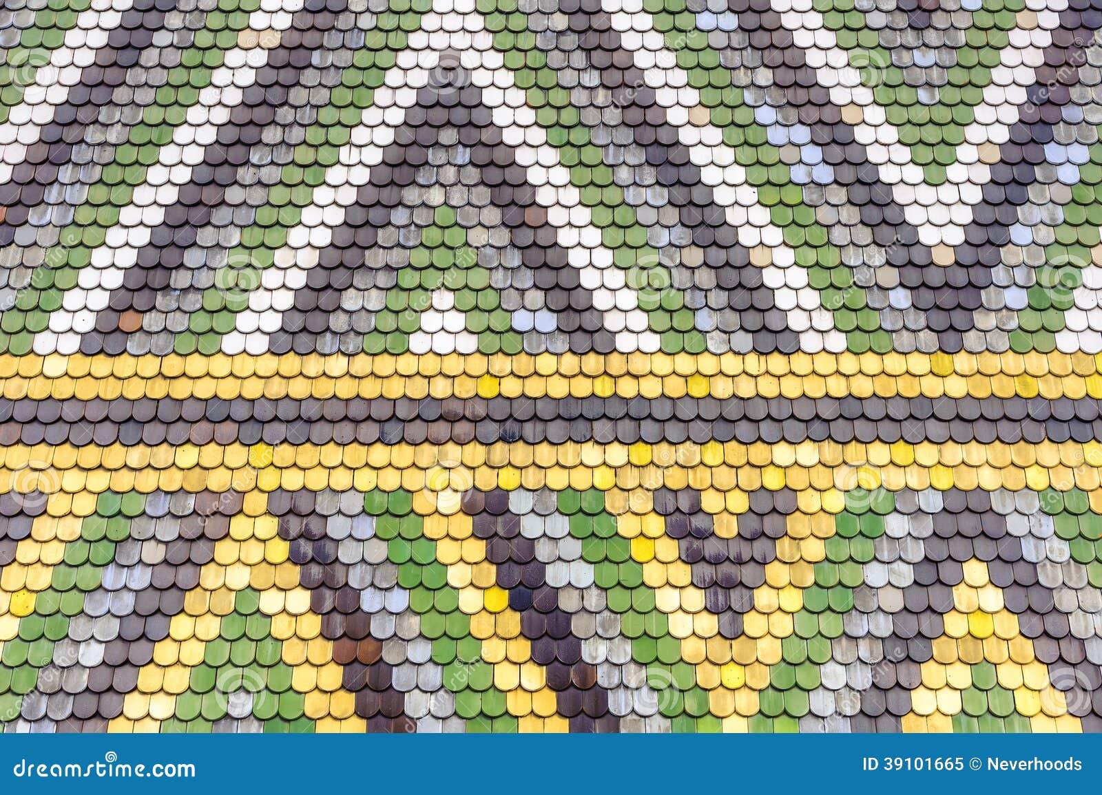 Het kleurrijke oude patroon van het tegelsdak