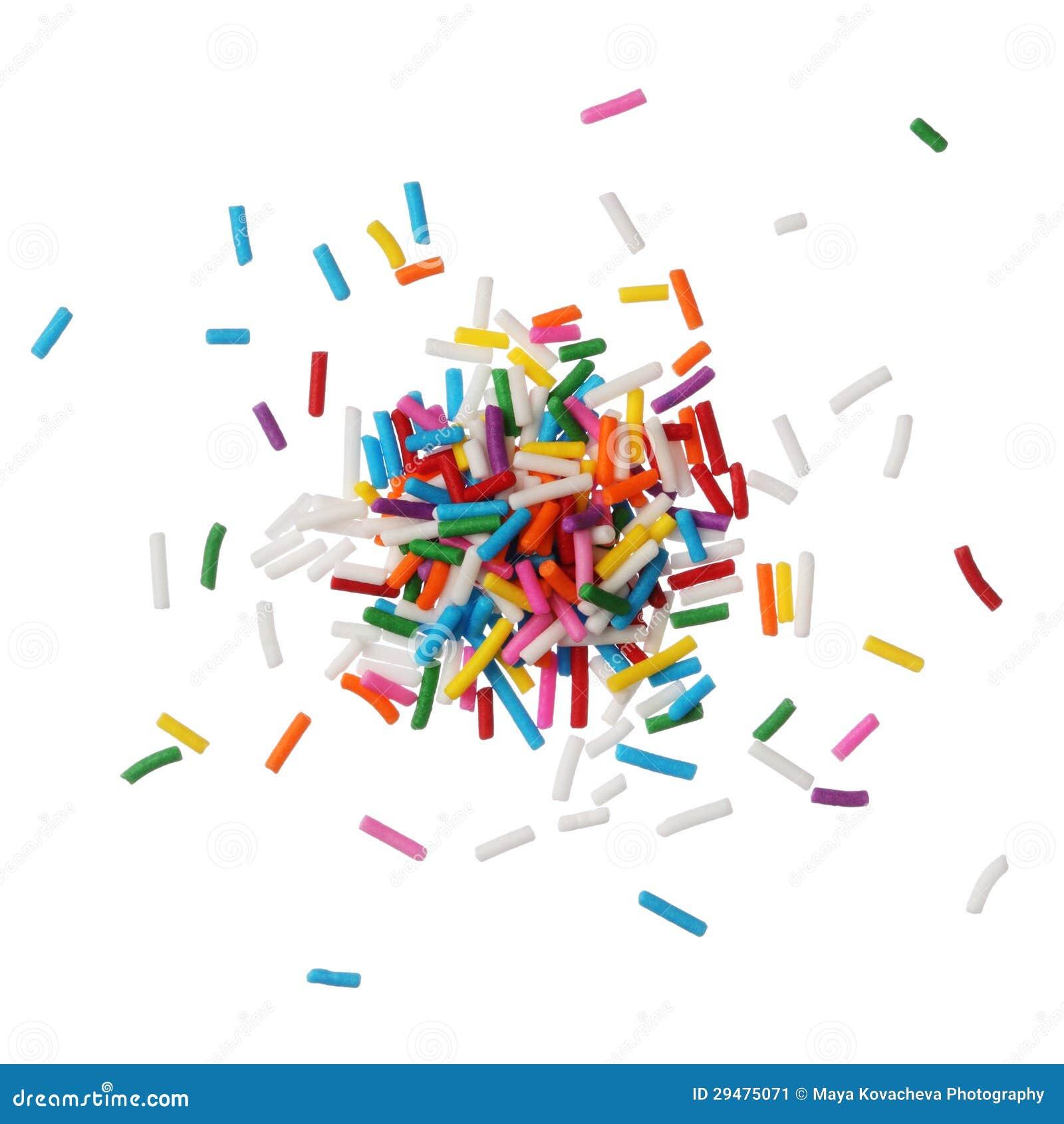 Het kleurrijke suikergoed bestrooit geïsoleerdw op witte achtergrond