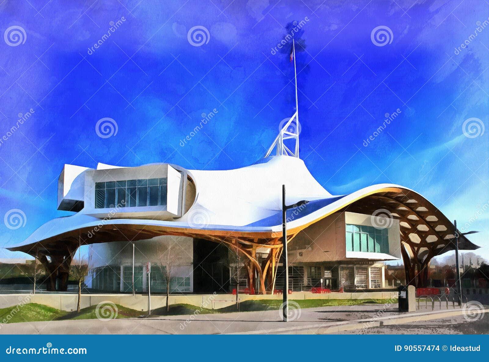 Het kleurrijke waterverf schilderen van moderne architectuur stock