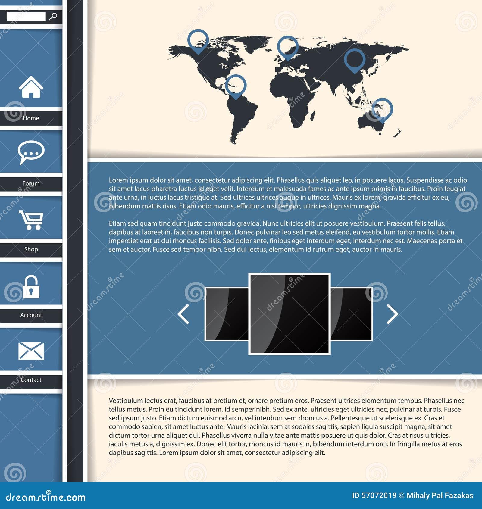 Het koele blauwe ontwerp van het websitemalplaatje