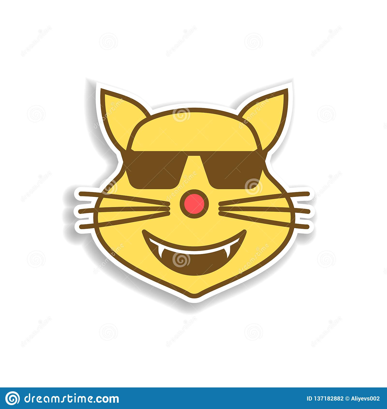 Het koele kat gekleurde pictogram van de emojisticker Element van emoji voor mobiele concept en webtoepassingenillustratie