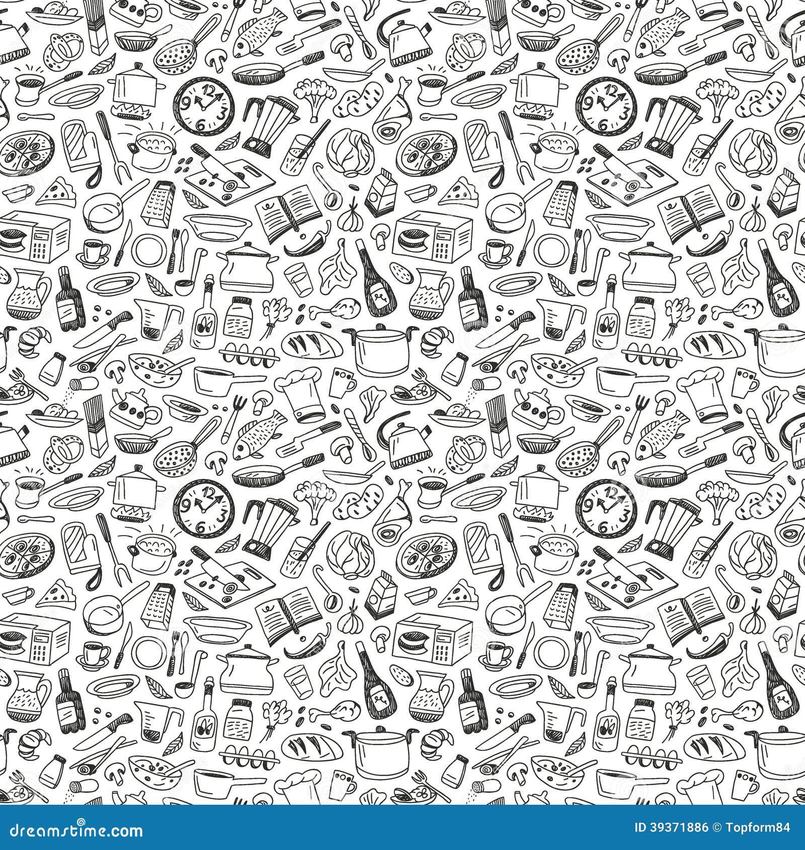 Het koken naadloze achtergrond vector illustratie afbeelding 39371886 - Koken afbeelding ...