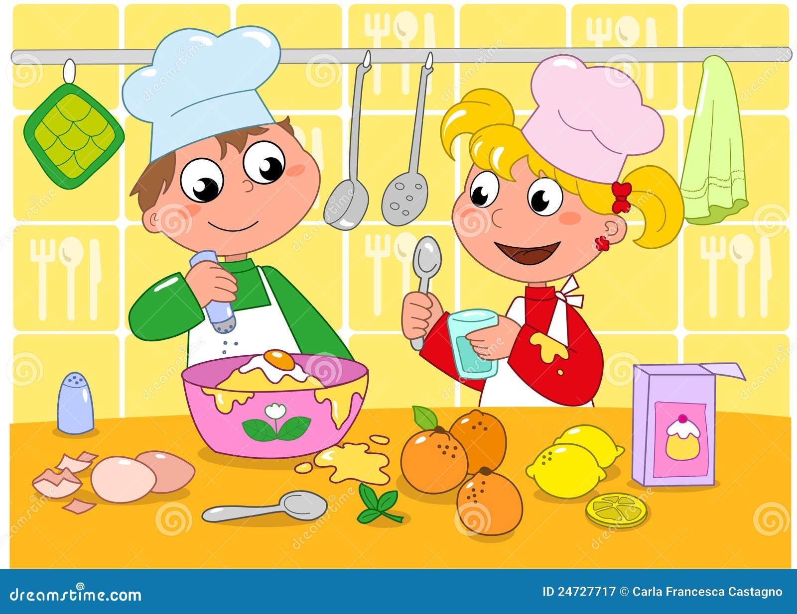 Het koken van de jongen en van het meisje royalty vrije stock fotografie beeld 24727717 for Beeldkoken