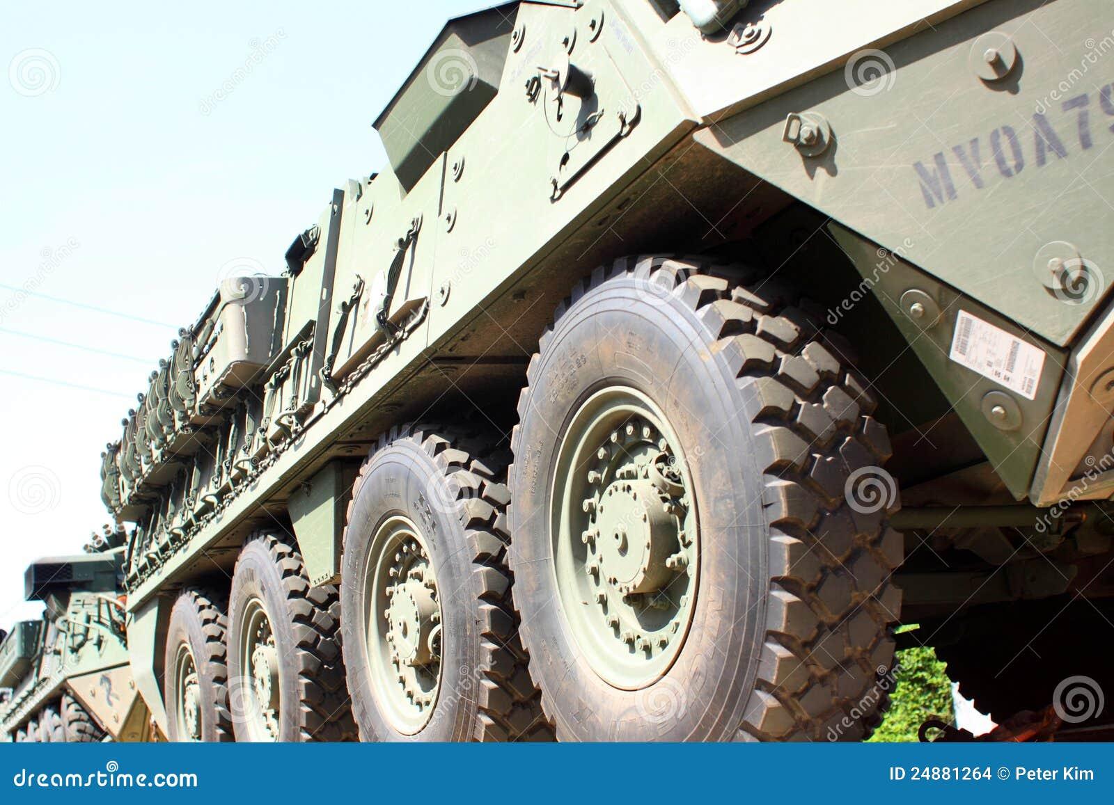 Het Konvooi van de spoorweg van militaire voertuigen.