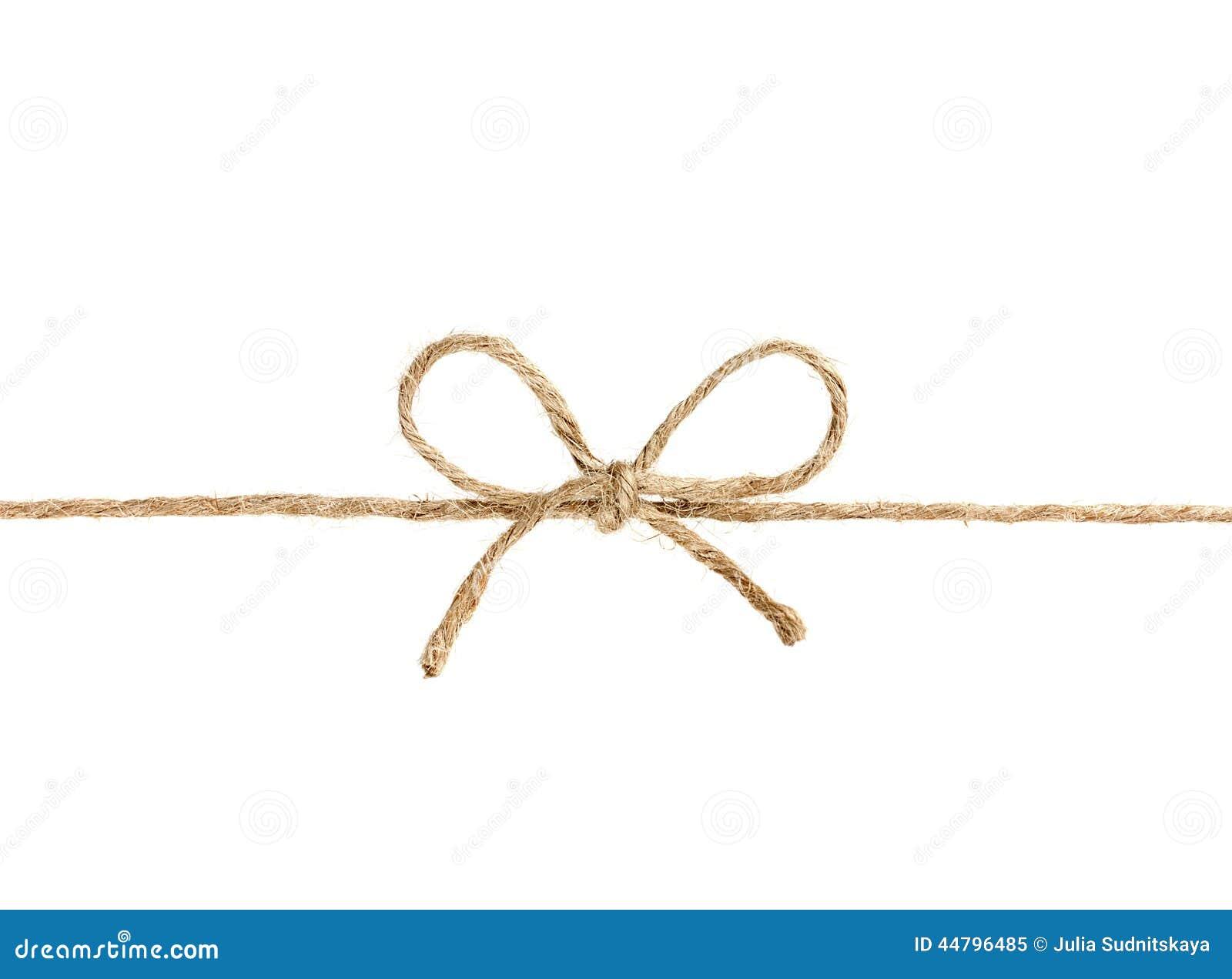 Het koord of de streng bond een boog vast op wit wordt geïsoleerd dat