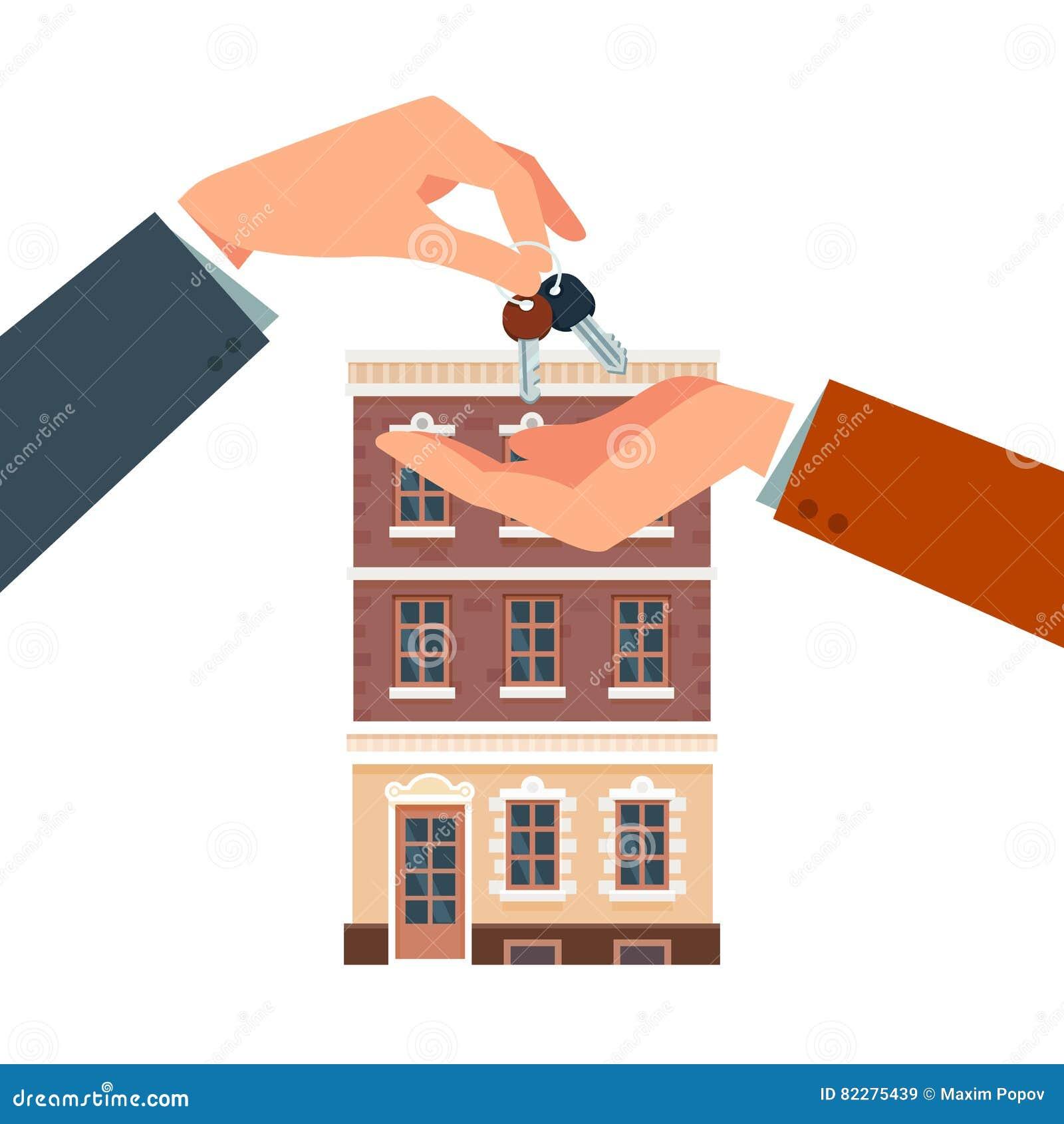 Het kopen van of het huren van een nieuw huis vector illustratie afbeelding 82275439 - Amenager een voorgerecht van het huis ...