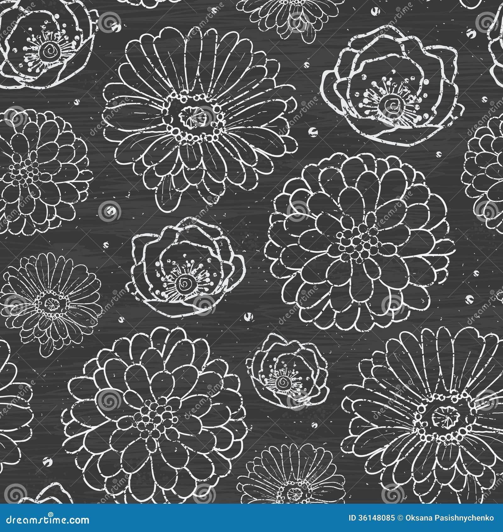 Het krijt bloeit bord naadloos patroon