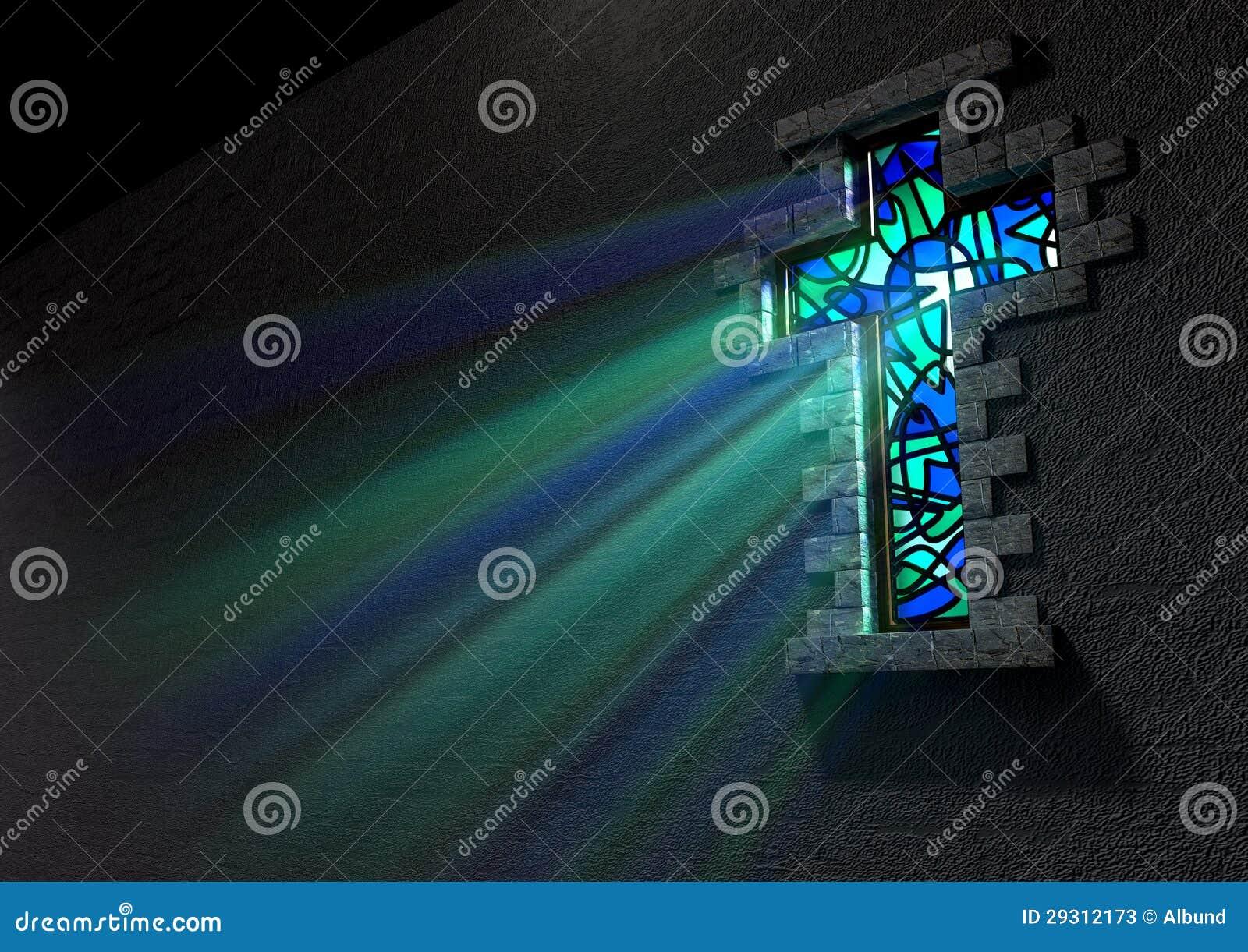Het Kruisbeeld van het Venster van het gebrandschilderd glas