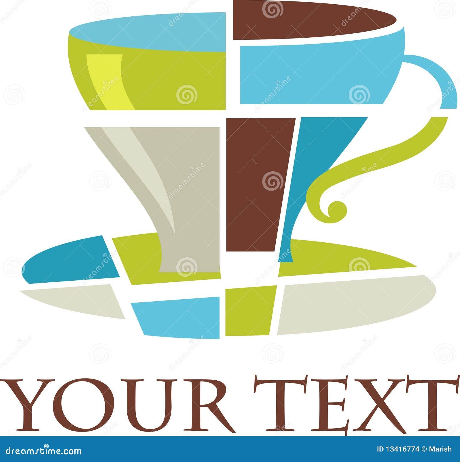 Het kubiste embleem/het pictogram van de koffiekop