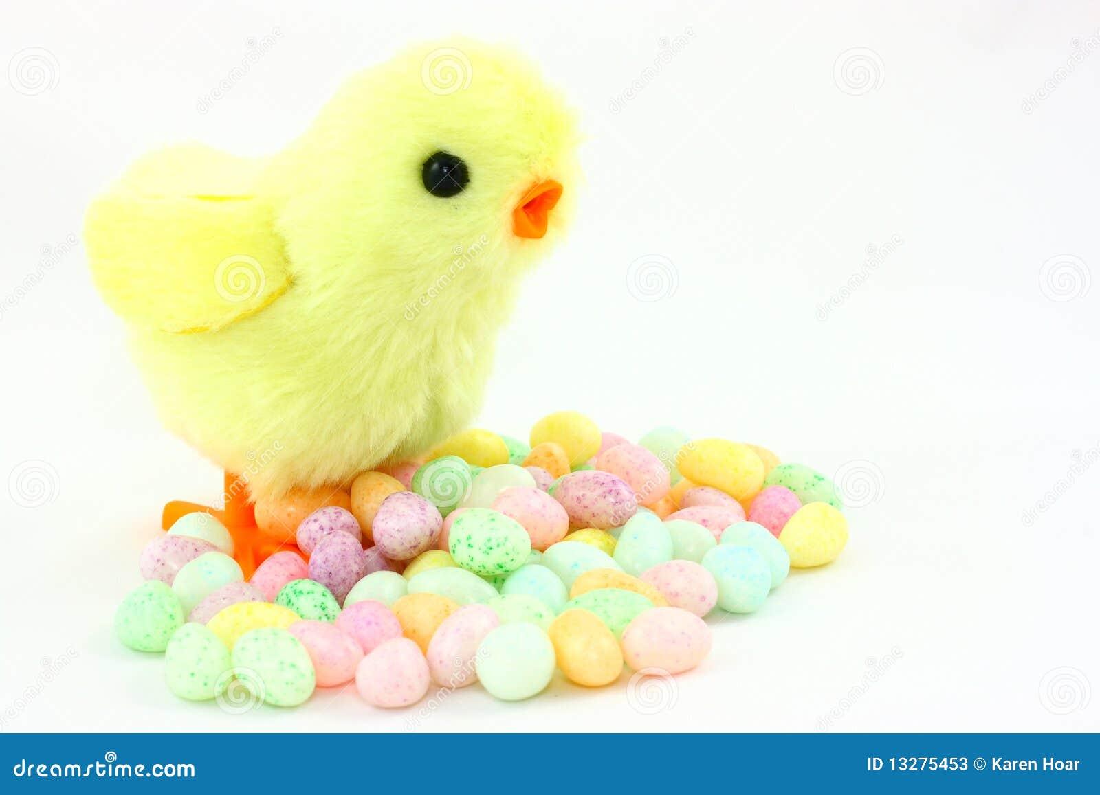 Het Kuiken van Pasen van het stuk speelgoed met de Bonen van de Gelei