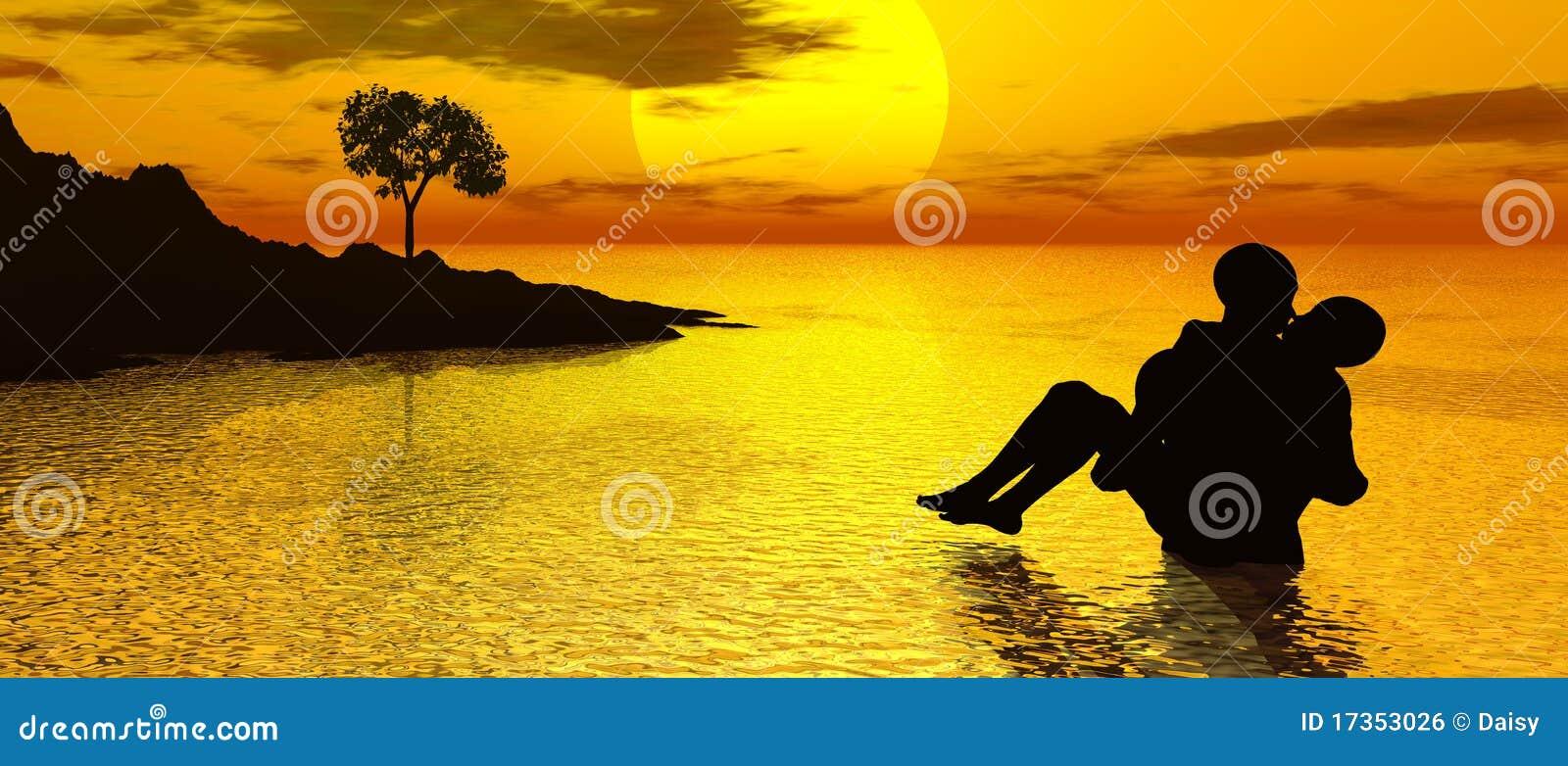 Het kussen bij zonsondergang royalty vrije stock for Waarom kussen mensen