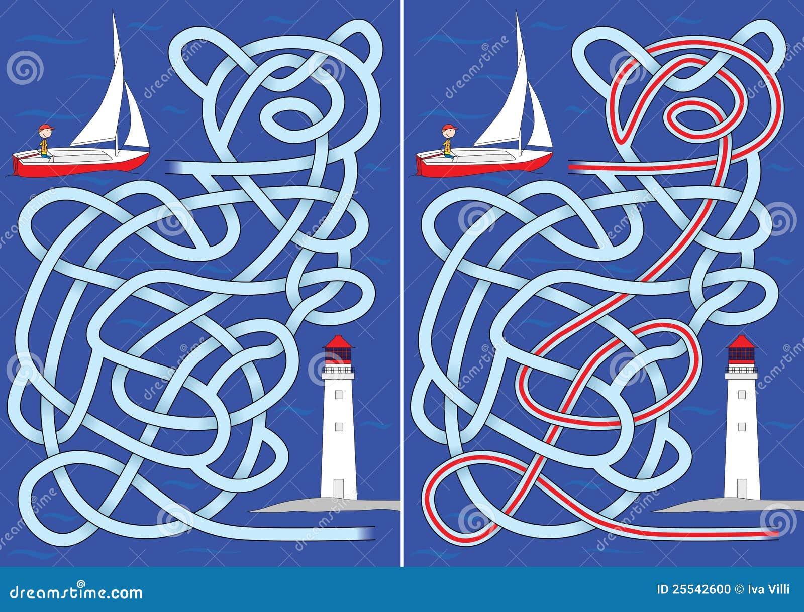 Het labyrint van de zeilboot
