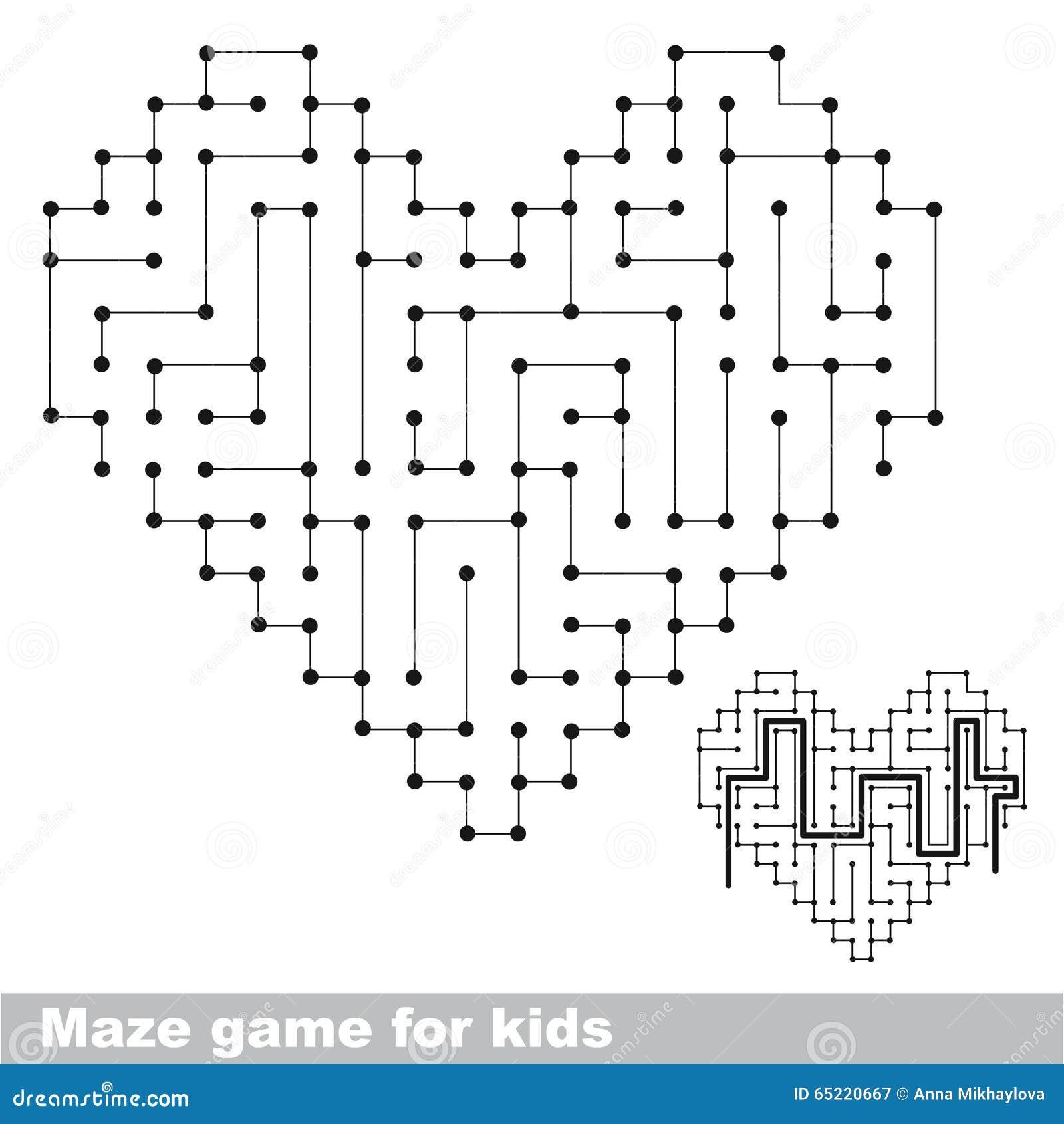 Het labyrintspel van het hart kleurloos jonge geitje De manier zoek