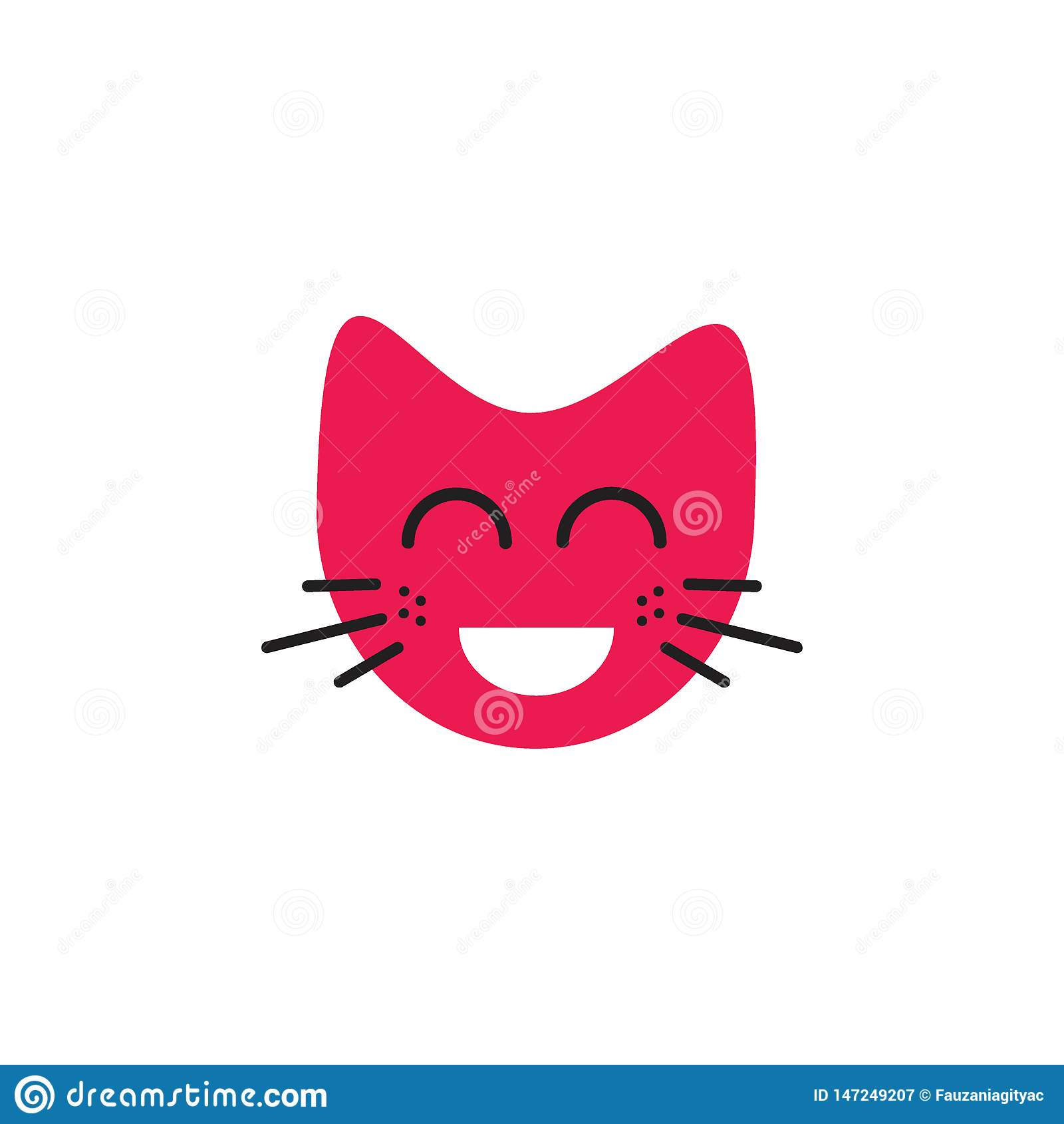 Het lachen het embleemconcept van de gezichtskat emoticon